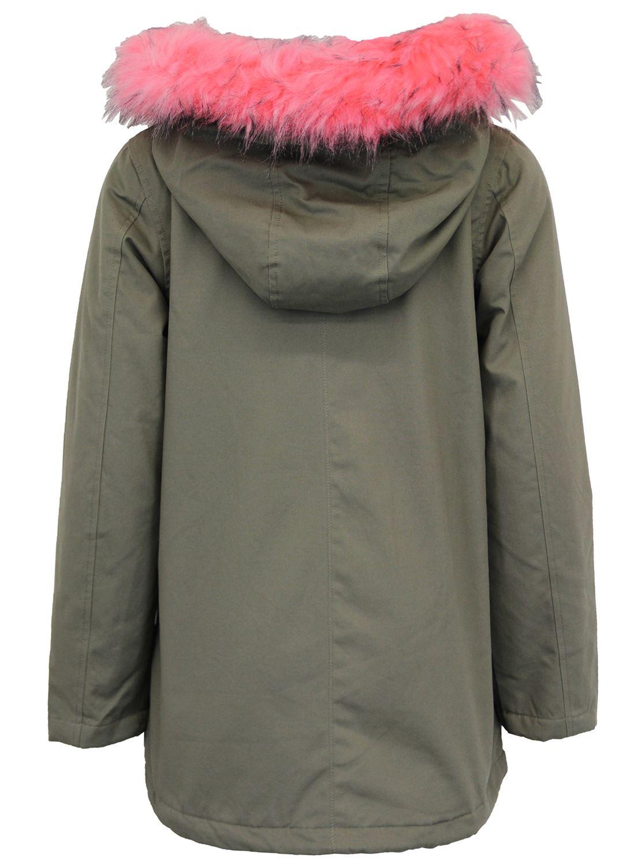 New Womens Pale Pink Fur Hooded Fleece Lined Parka Jacket Winter Coat 8-16