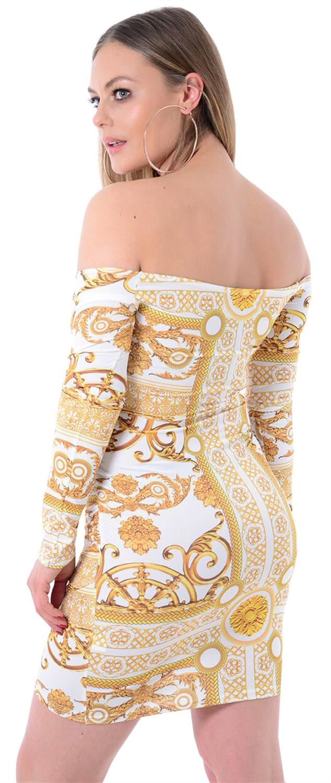 7144b812f6e8 New Ladies Off Shoulder Wrap Cross Long Sleeve Chain Print Midi ...