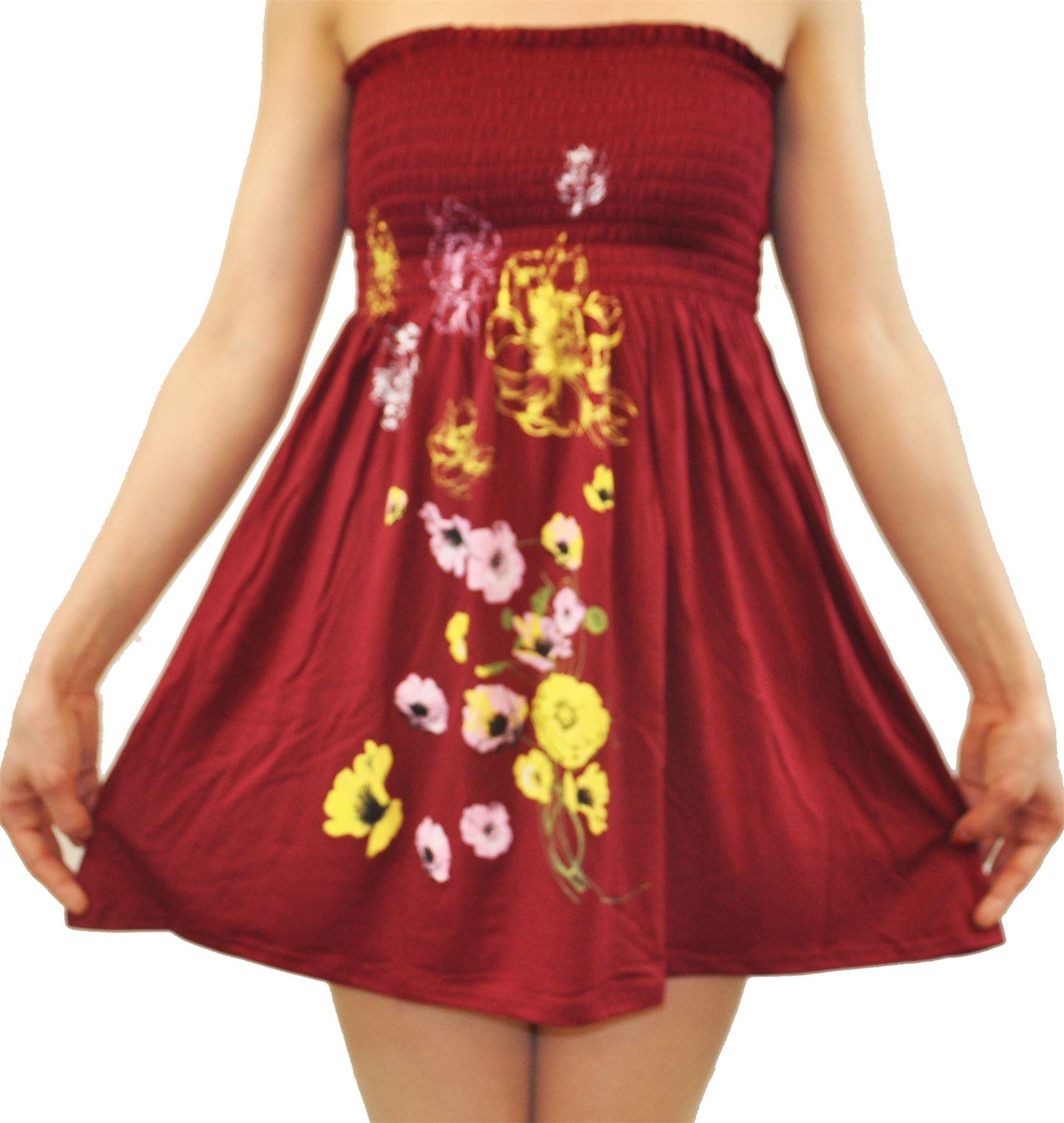 Dames-Plus-Taille-Vin-Feuilles-Papillon-Sheering-Sans-bretelles-Boob-Tube-Tops miniature 8