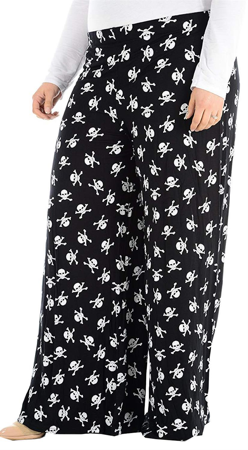 New Womens Plus Size Printed Palazzo Wide Leg Flared Trousers Pants 16-30