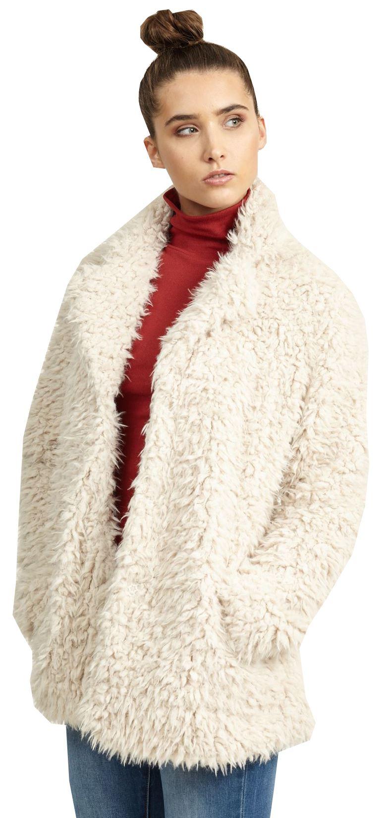 Womens Gabriel Designer Super Soft Fluffy Satin Line Faux Fur Jacket Coat 8-24