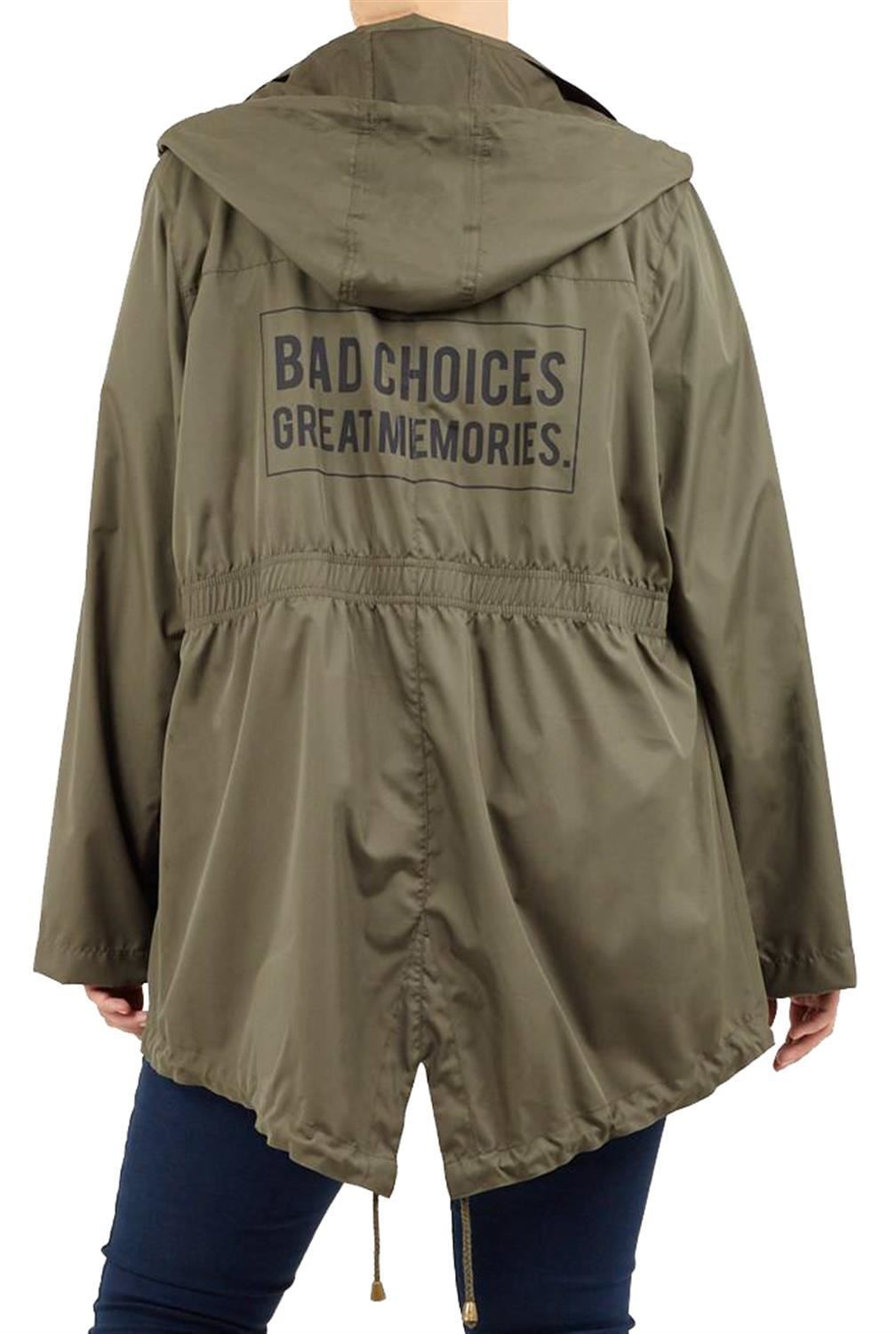 Ladies-Plus-Size-Plain-Printed-Parka-Hooded-Fishtail-Polyester-Mac-Raincoats thumbnail 11