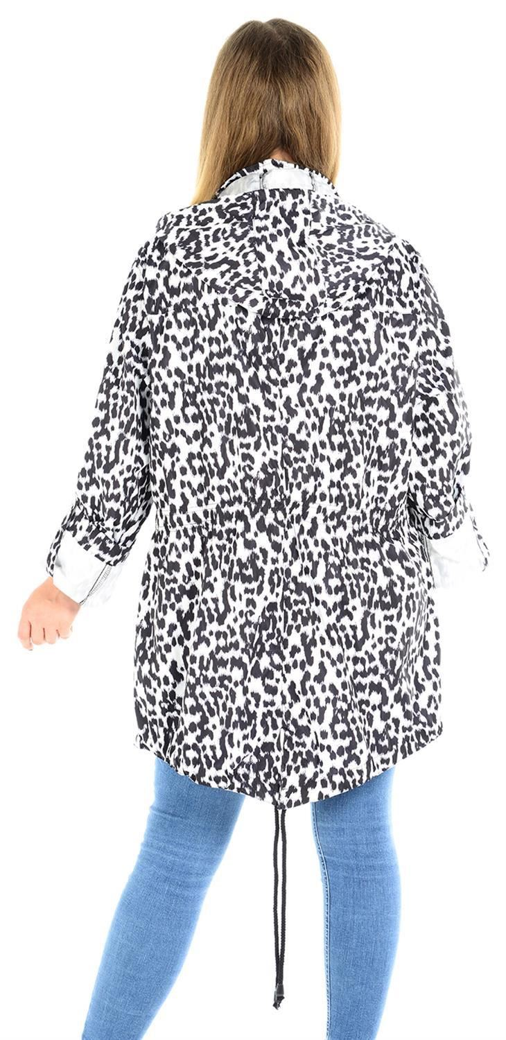 Ladies-Plus-Size-Plain-Printed-Parka-Hooded-Fishtail-Polyester-Mac-Raincoats thumbnail 9
