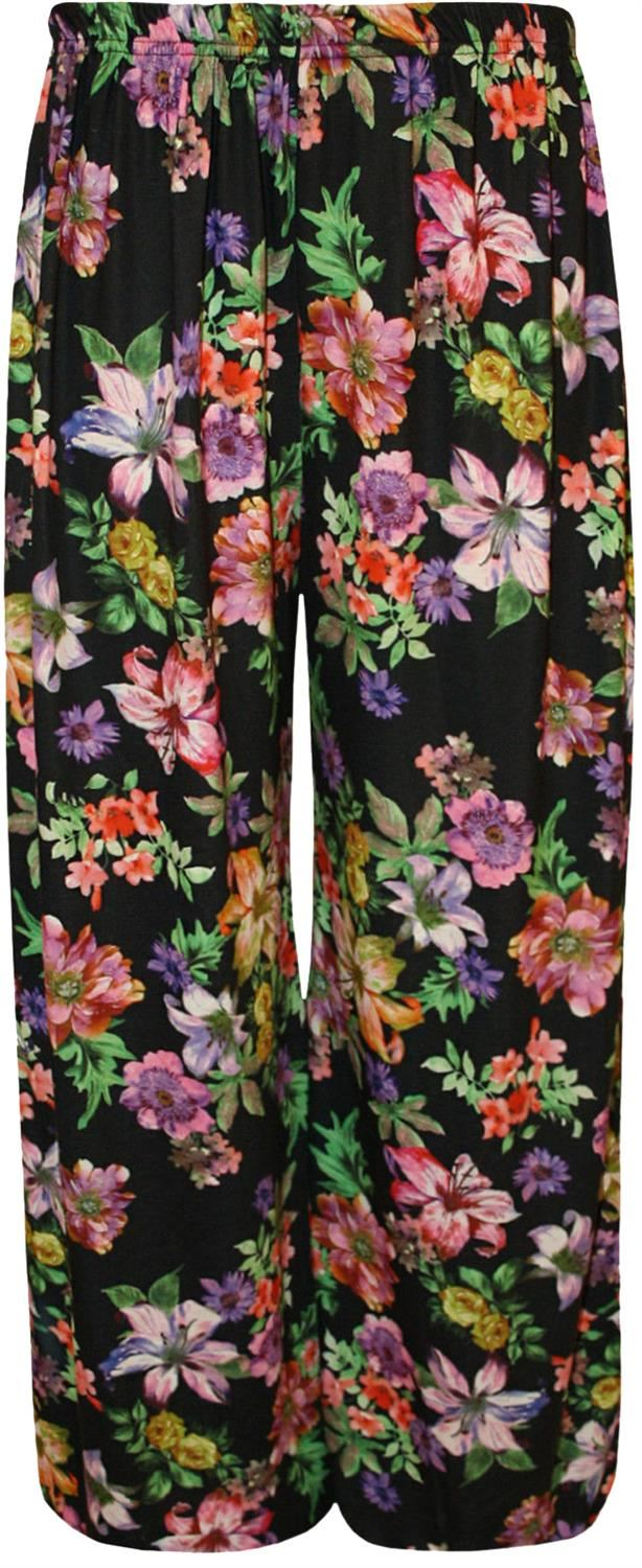 thumbnail 14 - New Women Casual Flare Wide Leg Long Floral Printed Palazzo Baggy Trousers