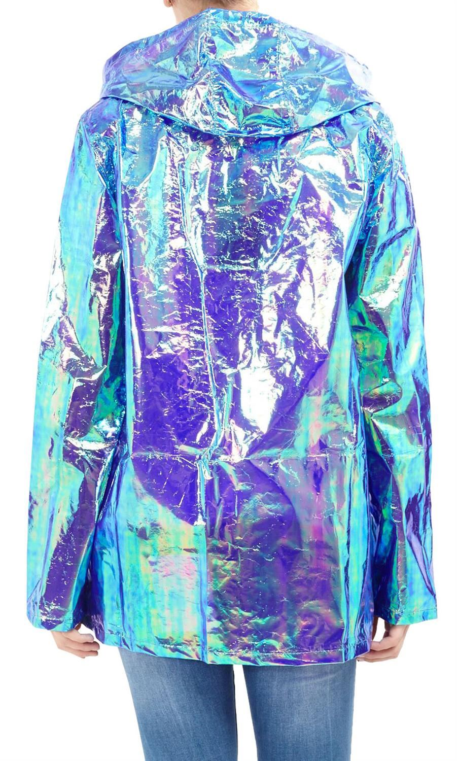 Womens-Waterproof-Holographic-Zipped-Neon-Festival-Mac-Jacket-Parka-Raincoat thumbnail 11