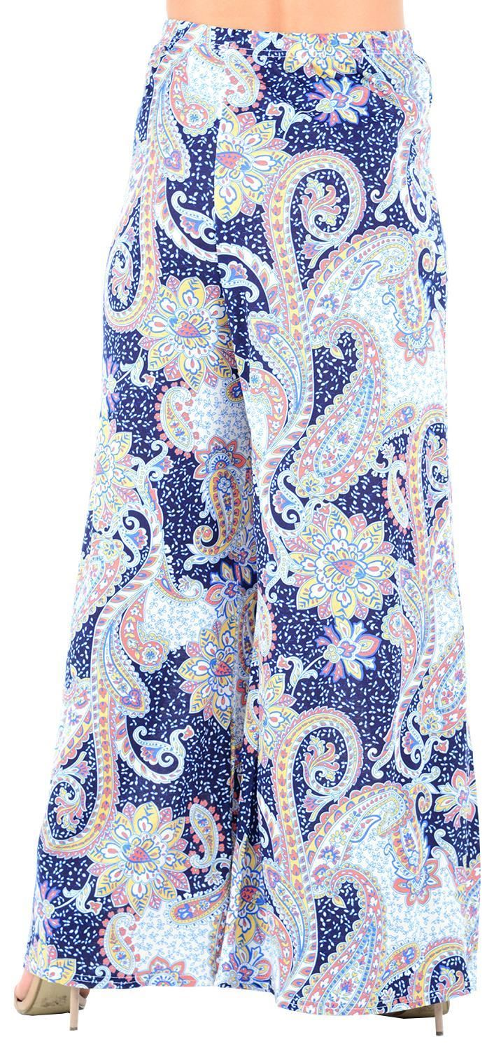 thumbnail 31 - New Women Casual Flare Wide Leg Long Floral Printed Palazzo Baggy Trousers