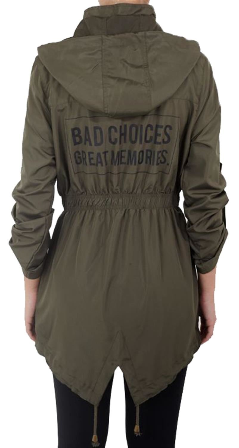 8eeb929a88 Details about Ladies Back Slogan Printed Fishtail Roll Up Sleeve Hooded Mac  Raincoat Jacket