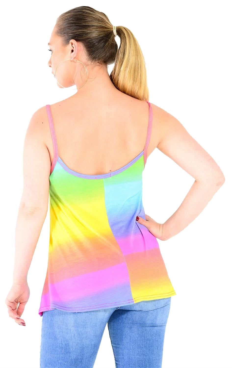 Ladies Ombre Multi Rainbow Print Jumpsuit Cami Vest Crop Top Skirt Dress
