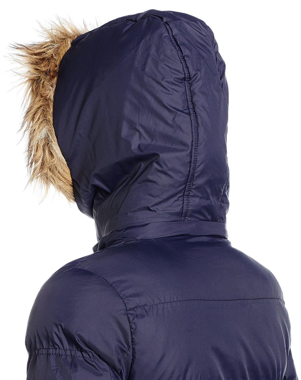 Nouveau-Femme-long-fausse-fourrure-col-matelasse-gilet-manteau-d-039-hiver-a-Capuche-Parka miniature 11