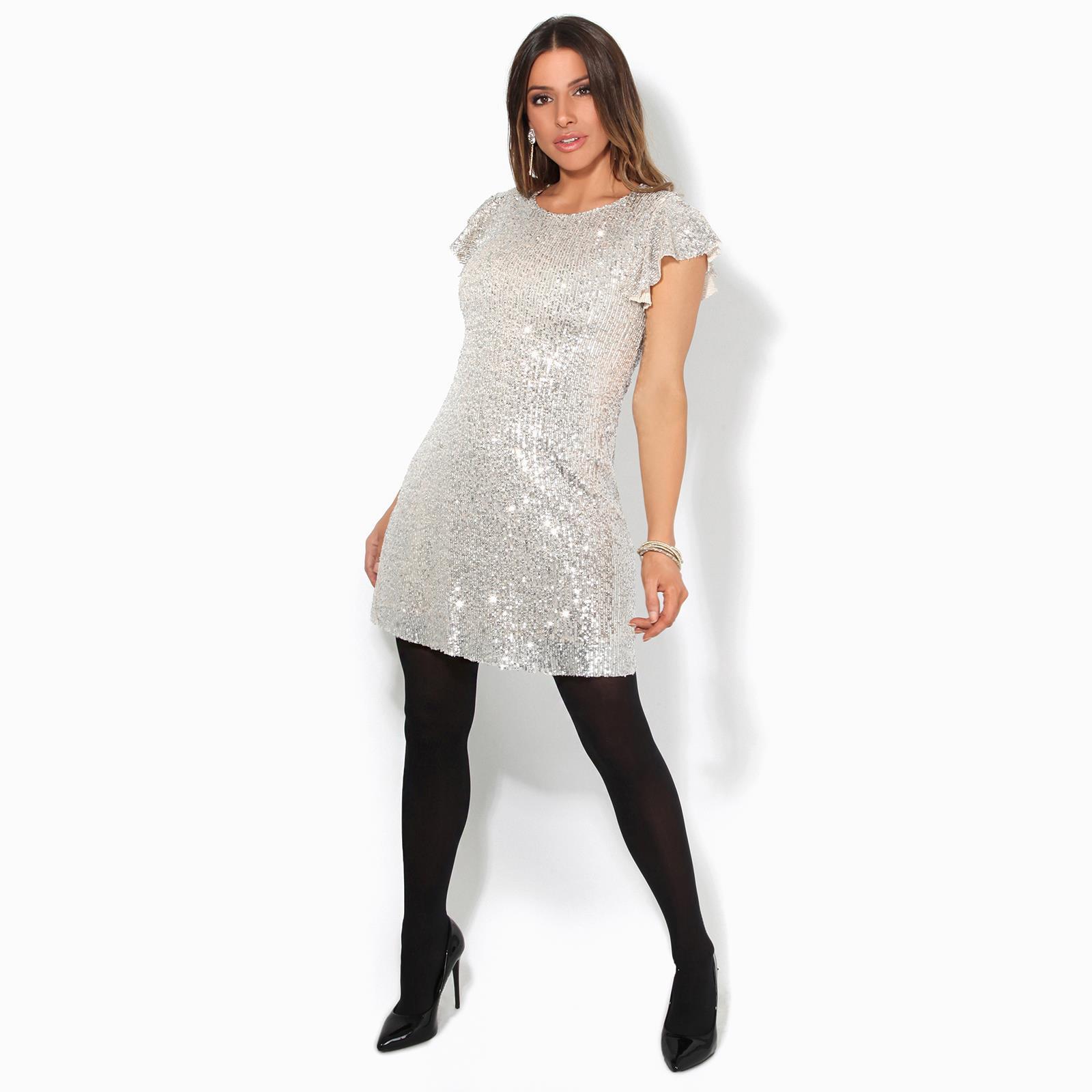 Womens-Ladies-Sequin-Glitter-Dress-Party-Ruffle-Sleeve-Evening-Lurex-Tunic-Top thumbnail 6