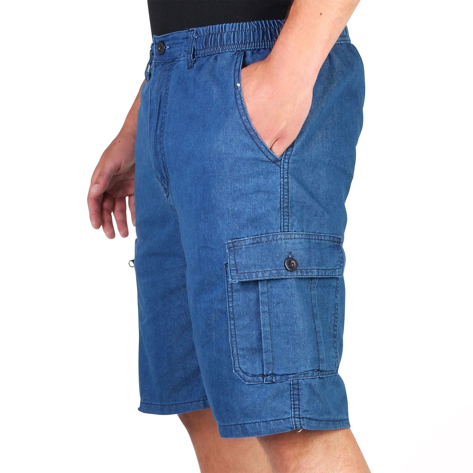 dc35a1f9835 Mens Vintage Classic Denim Shorts Cropped Cargo Jeans Combat Summer ...