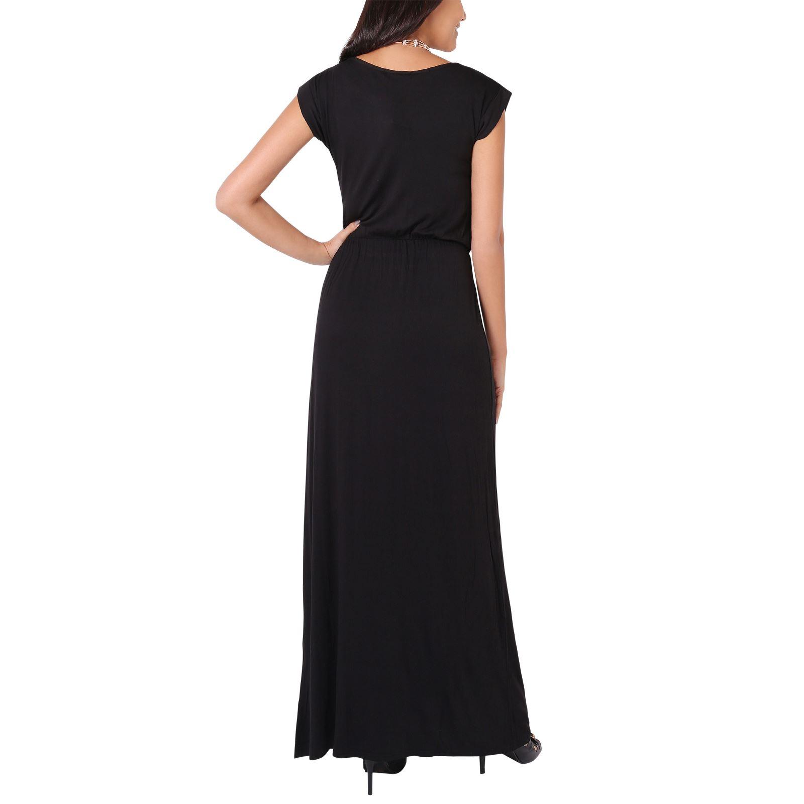 Womens Ladies Short Sleeve Maxi Cotton Dress Long Jersey ...