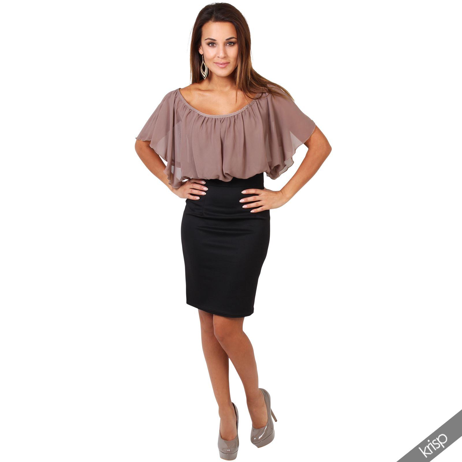 Womens-Pleated-Chiffon-Batwing-Top-High-Waist-Pencil-Bodycon-Skirt-Mini-Dress thumbnail 17