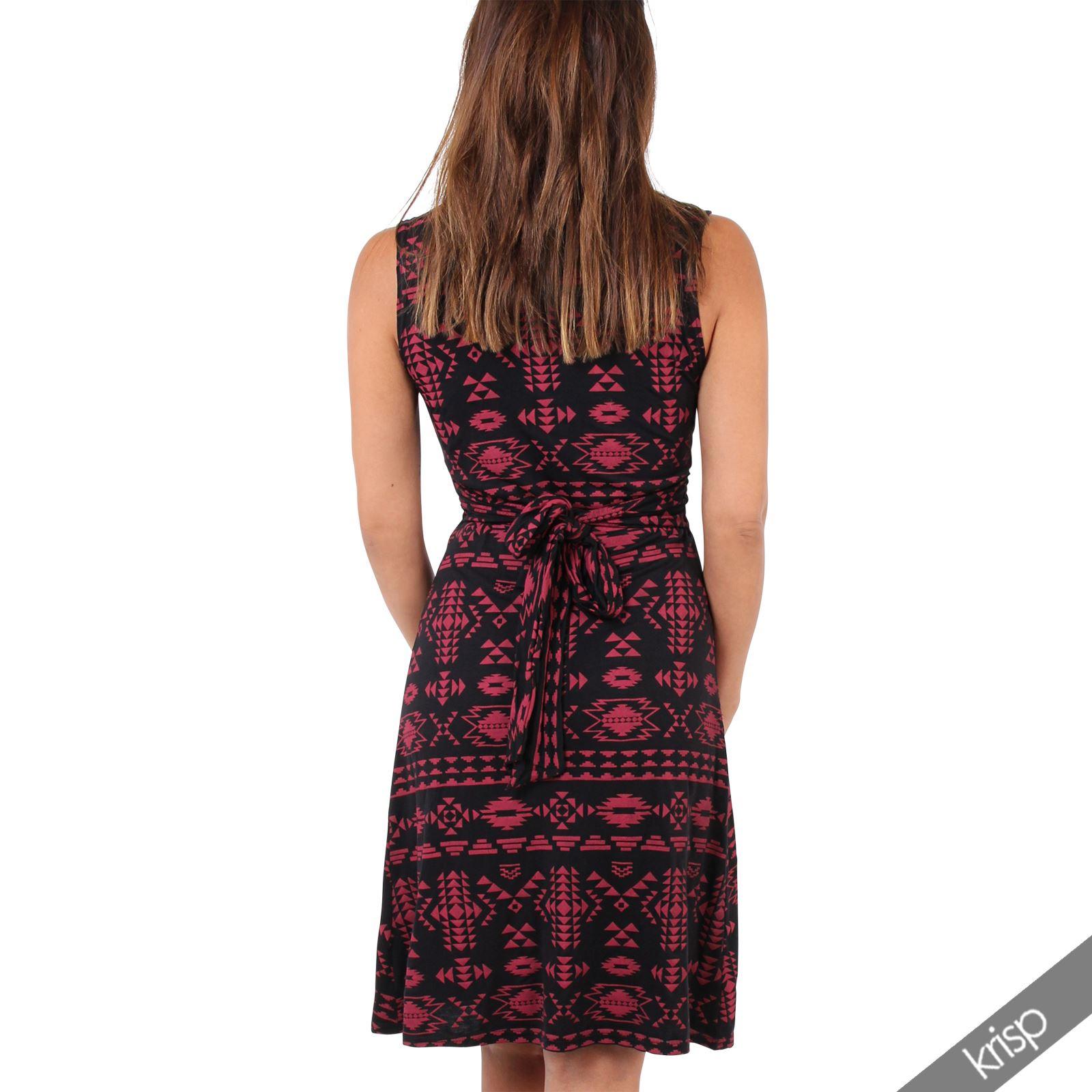 Womens-V-Neck-Mini-Dress-Small-Sizes-Short-Skirt-Tribal-Print-Front-Knot-Party thumbnail 25
