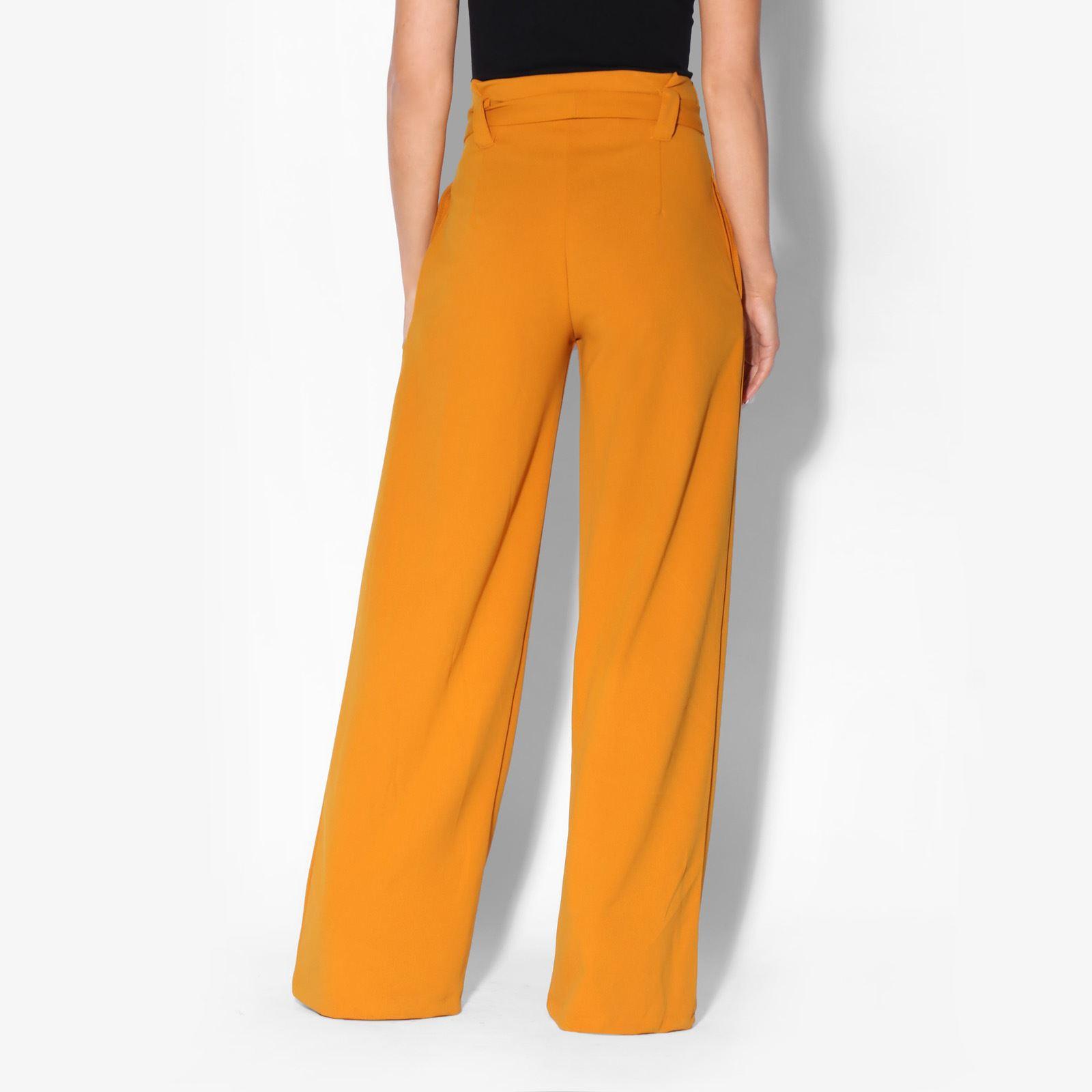 Womens-Ladies-High-Waist-Wide-Leg-Trousers-Paper-Bag-Flared-Leg-Palazzo-Pants thumbnail 5