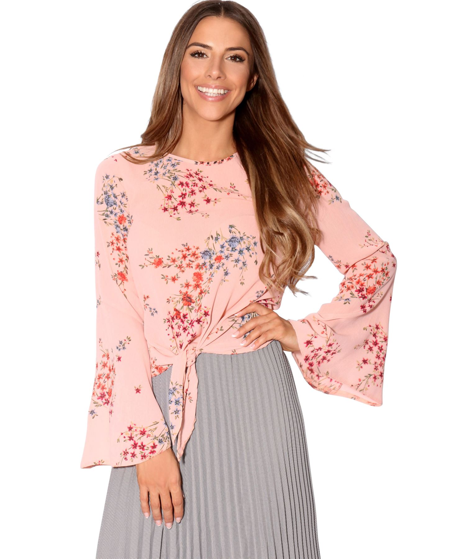 Womens-Ladies-Tie-Front-Flared-Bell-Sleeve-Loose-Blouse-Casual-Work-Top-T-Shirt