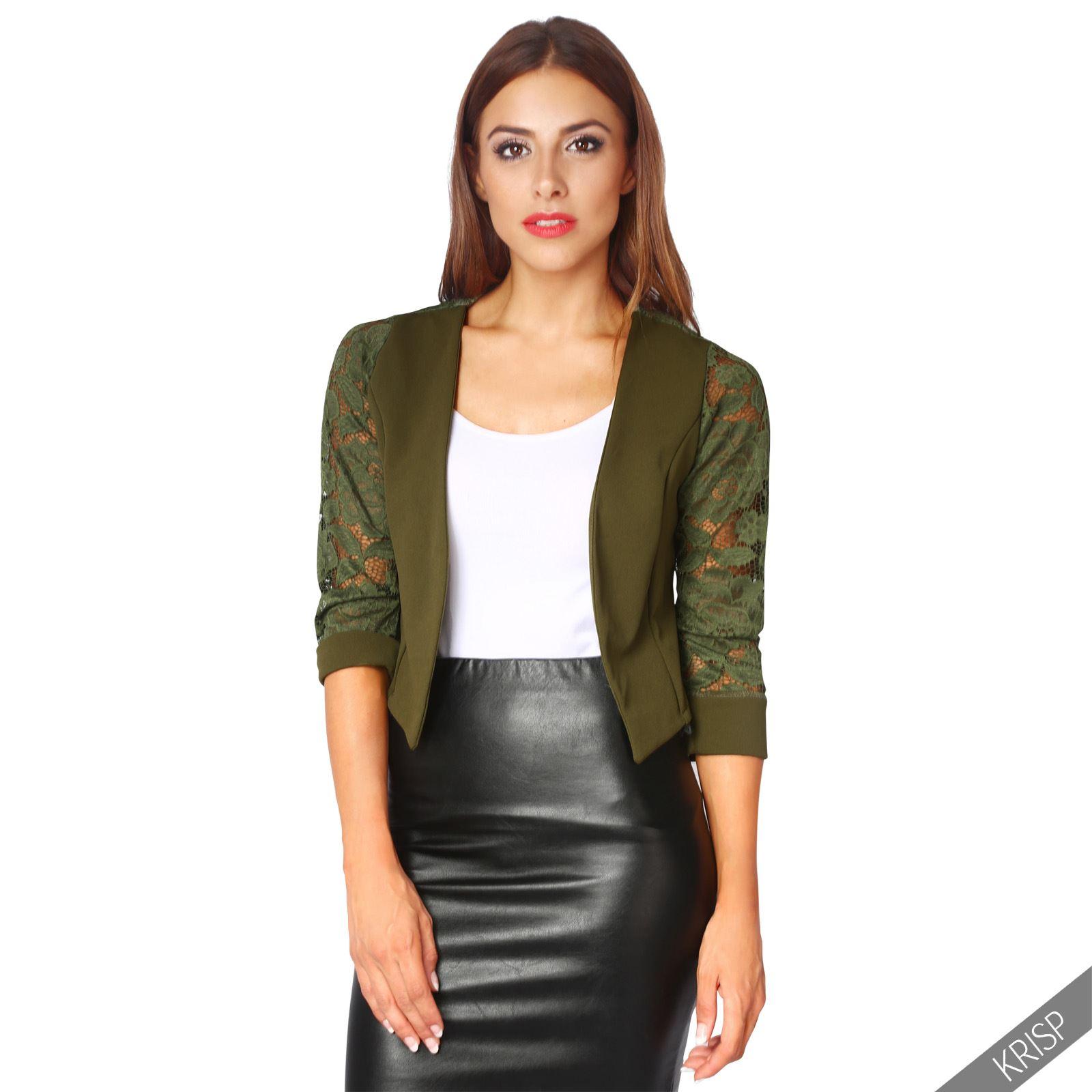 Womens-Ladies-Bolero-Lace-Shrug-Short-Sleeve-Cardigan-Cropped-Party-Top-Jacket thumbnail 8