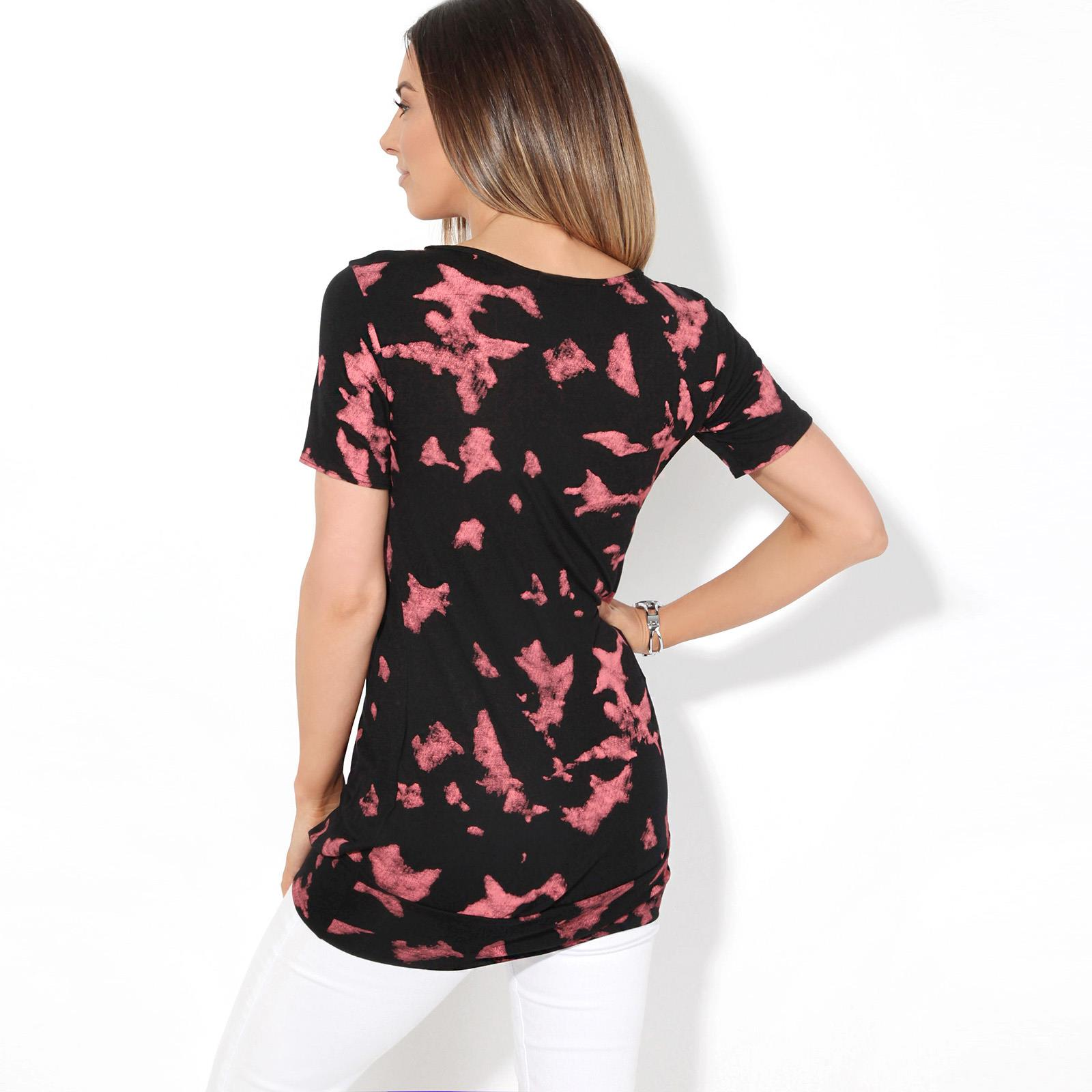 Womens-Ladies-Pattern-T-Shirt-Camo-Print-Blouse-Scoop-Neck-Baggy-Long-Top-Tunic thumbnail 3