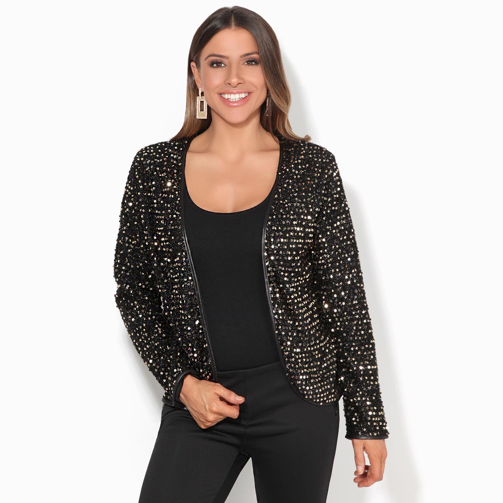 Womens-Sequin-Shrug-Bolero-Cropped-Top-Jacket-Blazer-Party-Evening-Coat thumbnail 9