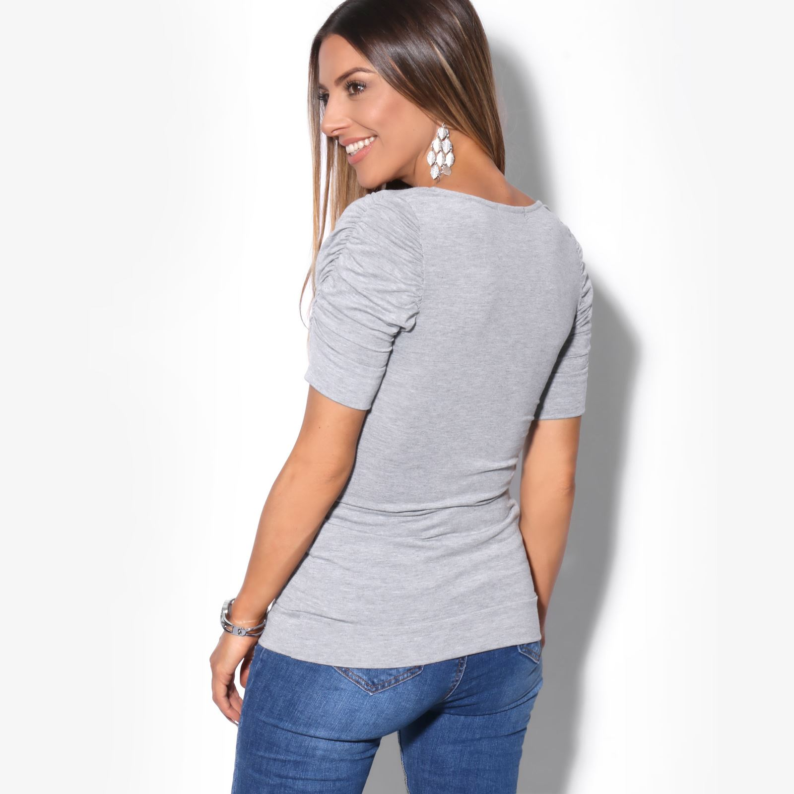 Womens-Ladies-Long-Blouse-Ruched-Pleated-Sleeve-Stretch-Jersey-Plunge-Top-Tshirt thumbnail 10