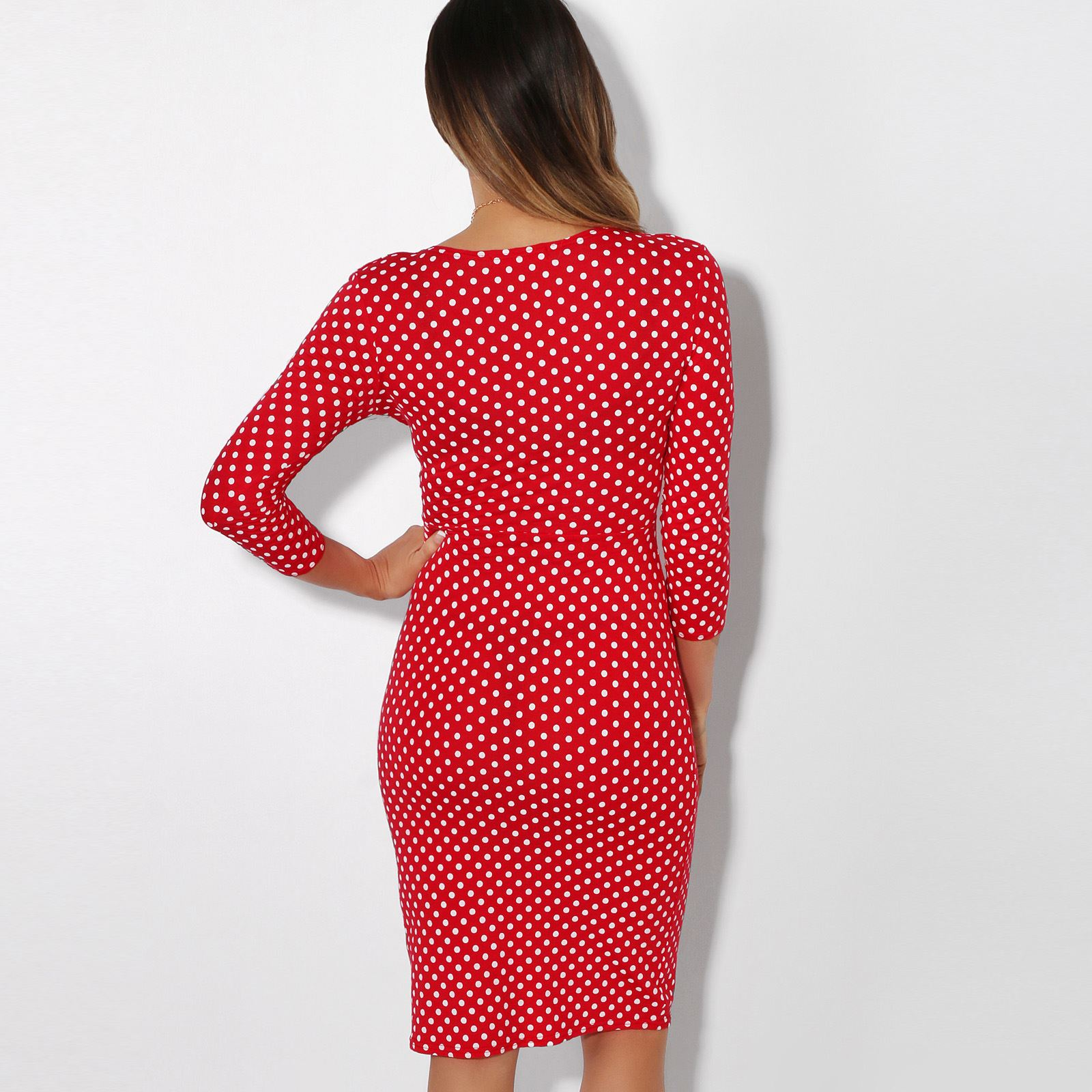 Womens-Polka-Dot-Dress-Pleated-Skirt-Wrap-Front-Mini-V-Neck-Top-Swing thumbnail 34