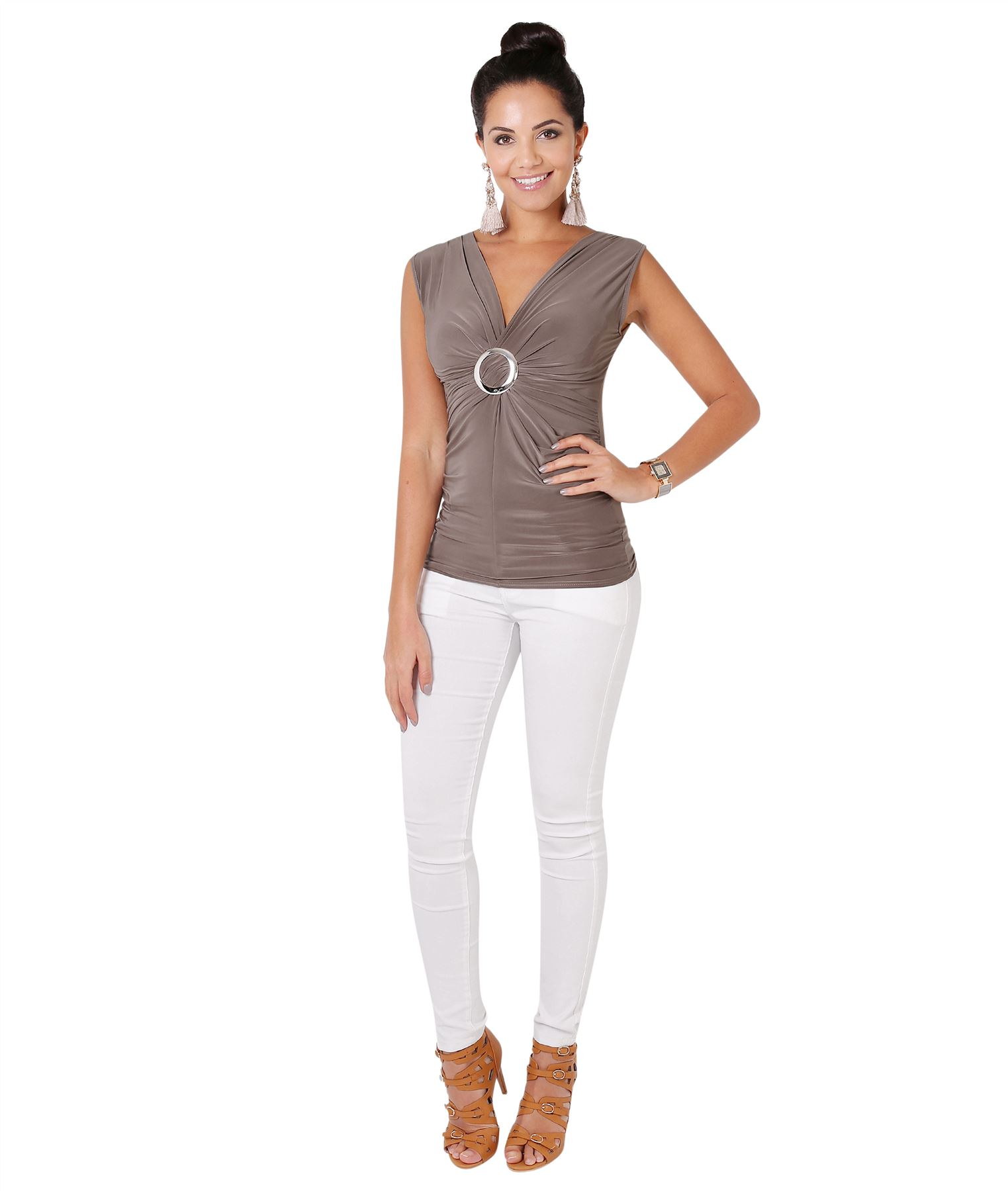 Womens-Wrap-Blouse-V-Neck-Sleeveless-T-Shirt-Evening-Tops-Stretch-Ruched-Party thumbnail 9