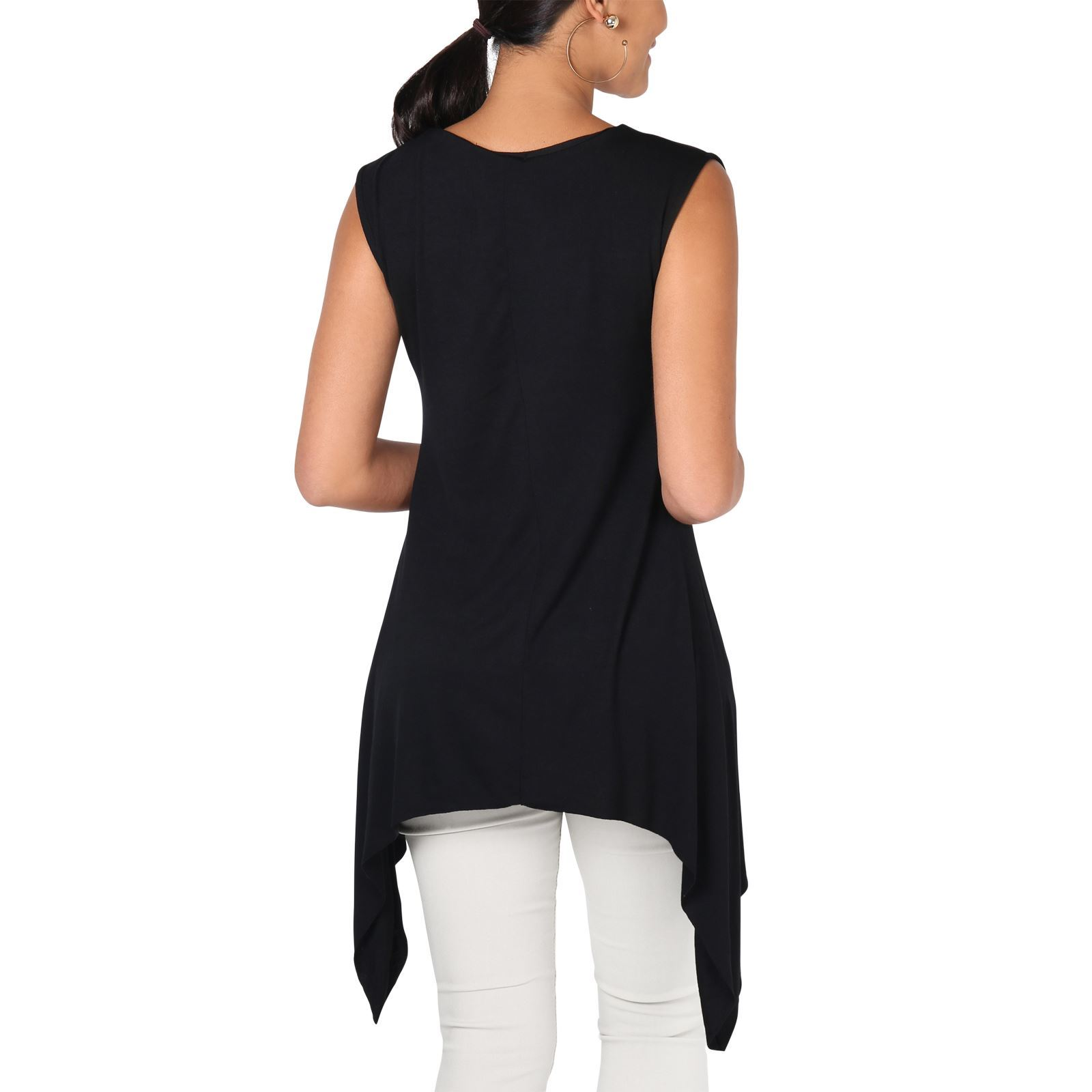 Women-Long-Top-Sleeveless-Pleated-Tee-Shirt-Tunic-Jersey-Stretch-Loose-Fit thumbnail 6