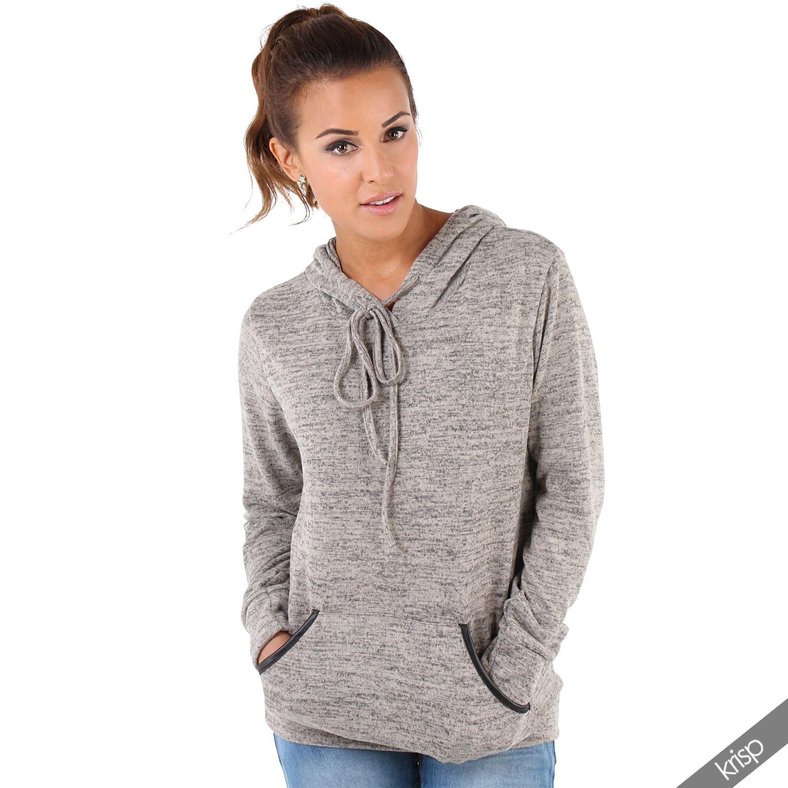 Womens-Soft-Marl-Knit-Hoodie-Hooded-Loose-Baggy-Jumper-Sweater-Top-Sweatshirt thumbnail 11