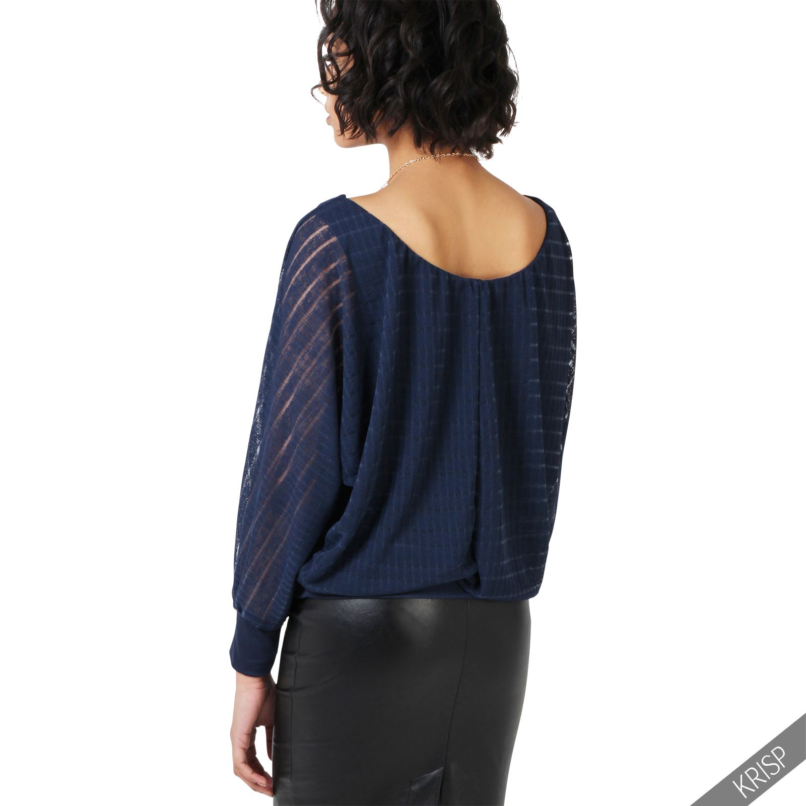 damen elegante bluse fledermaus oberteil gestreiftes shirt langarm tunika ebay. Black Bedroom Furniture Sets. Home Design Ideas