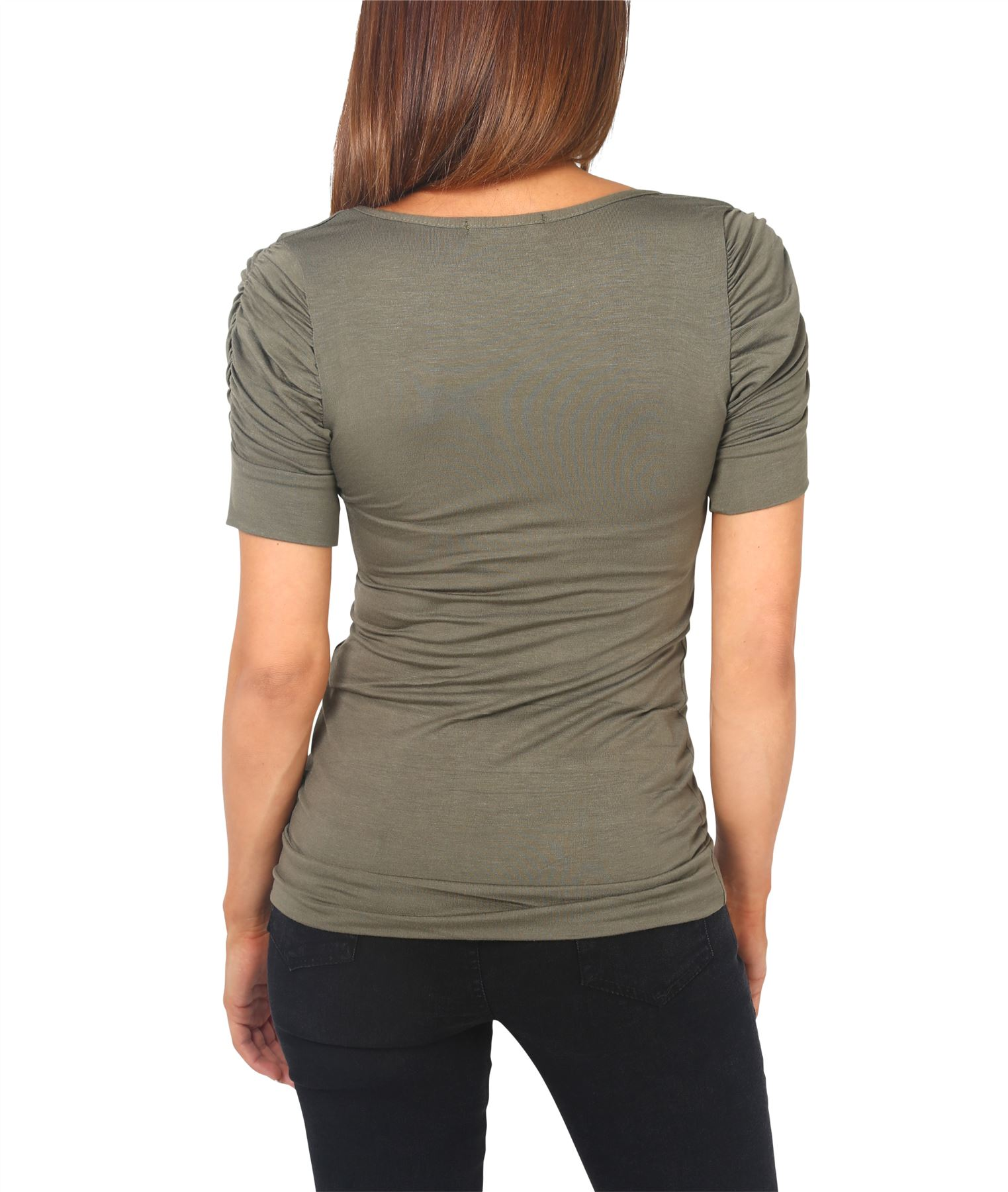Womens-Ladies-Long-Blouse-Ruched-Pleated-Sleeve-Stretch-Jersey-Plunge-Top-Tshirt thumbnail 14