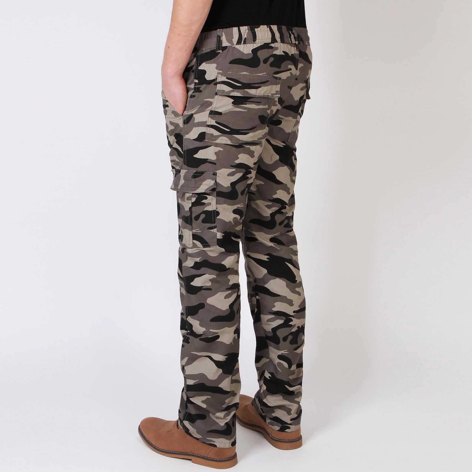 Homme-Pantalon-Imprime-Camouflage-Cargo-Multi-Poches-Style-Militaire miniature 10