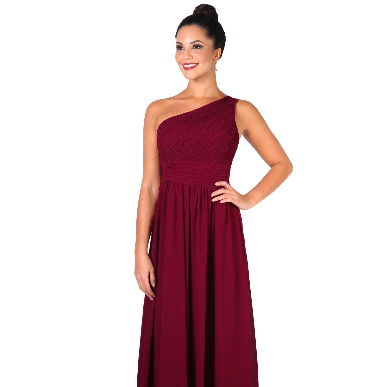 Womens-Wedding-Bridesmaid-Prom-Dress-Formal-One-Off-Shoulder-Long-Evening-8-18 thumbnail 81