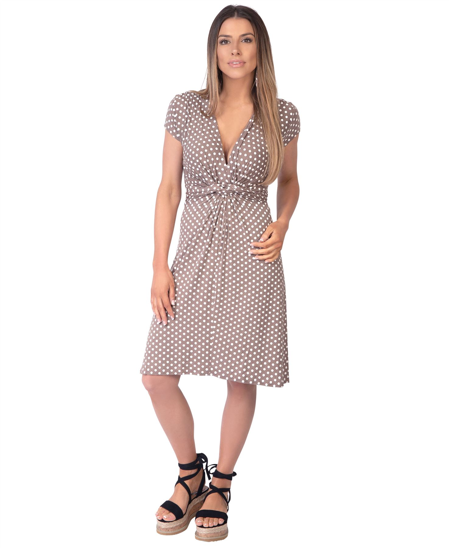 Womens-Polka-Dot-Dress-Pleated-Skirt-Wrap-Front-Mini-V-Neck-Top-Swing thumbnail 21