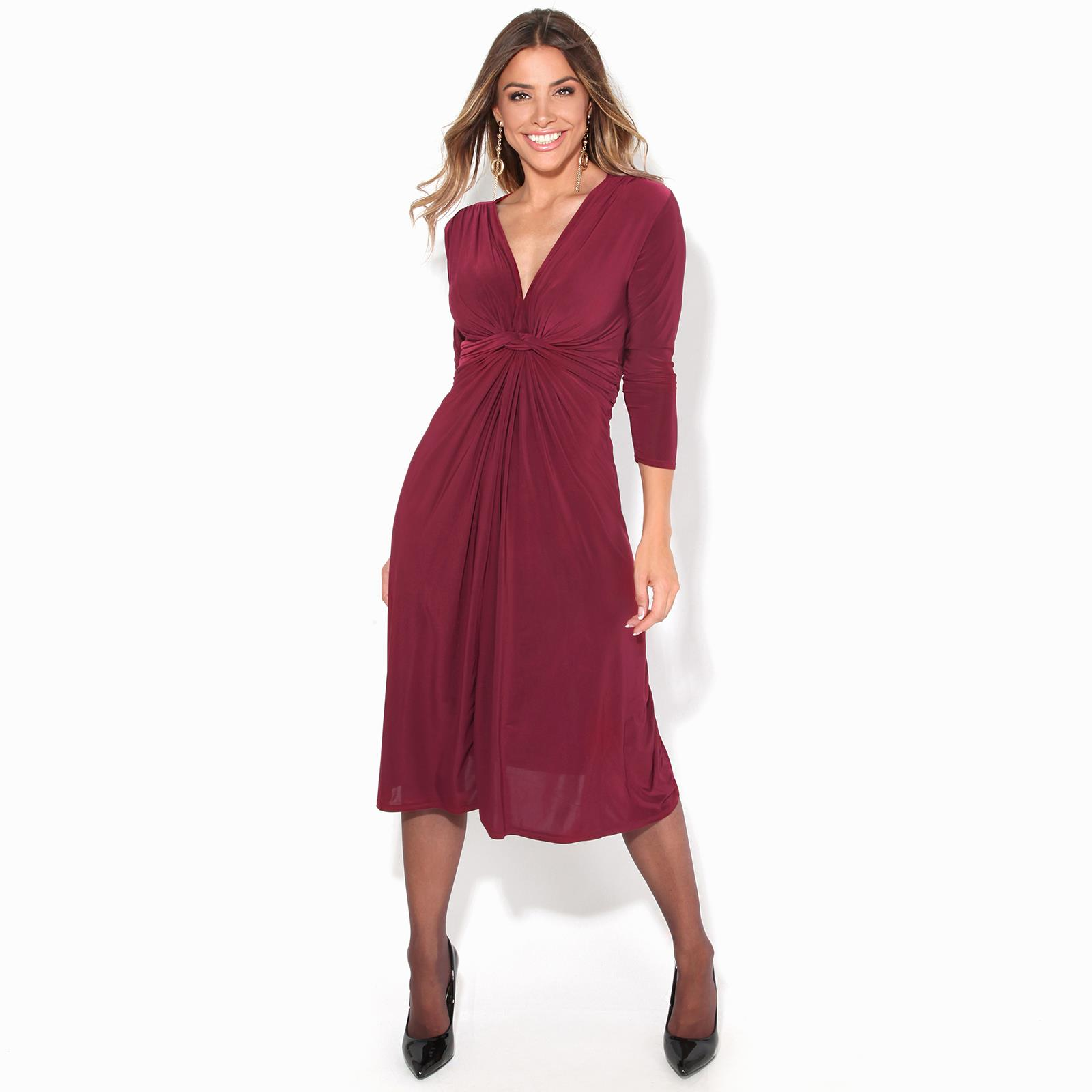 Women-Ladies-V-Neck-Midi-Dress-Knee-Long-A-Line-Skirt-3-4-Sleeve-Knot-Party-Work thumbnail 15