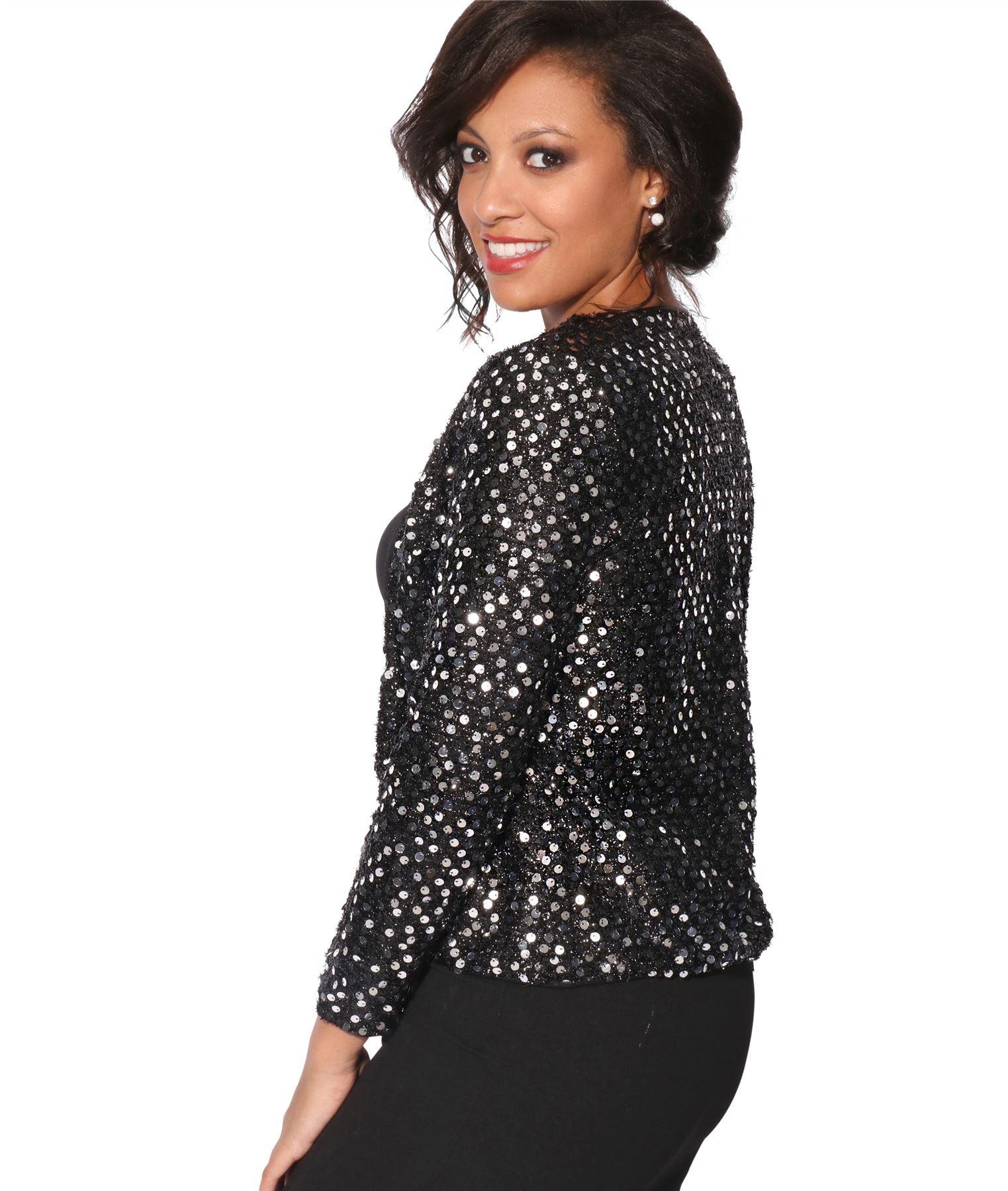 Womens-Sequin-Shrug-Bolero-Cropped-Top-Jacket-Blazer-Party-Evening-Coat thumbnail 17