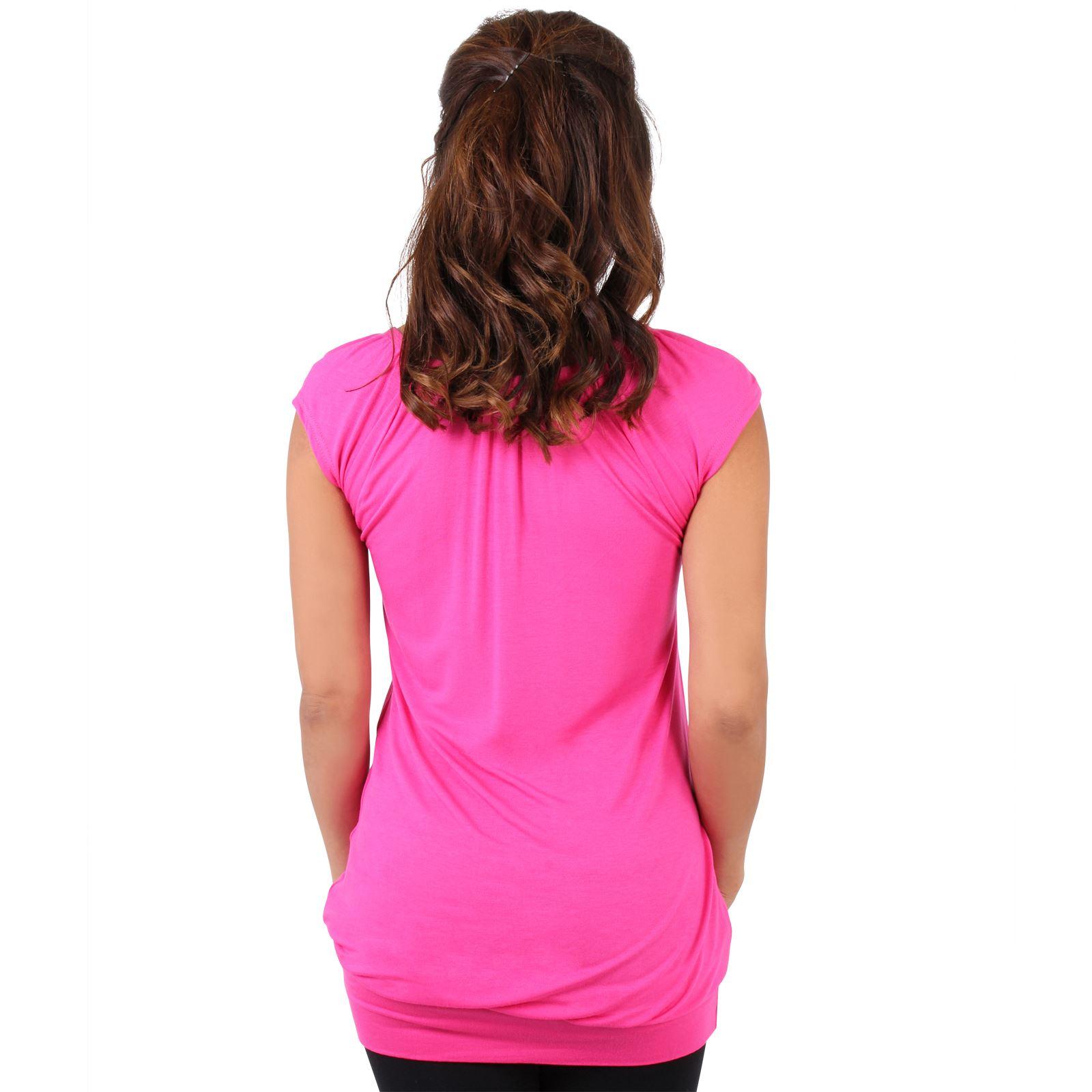 Womens-Ladies-Plain-T-Shirt-Short-Sleeve-Long-Loose-V-Neck-Blouse-Tunic-Top thumbnail 12