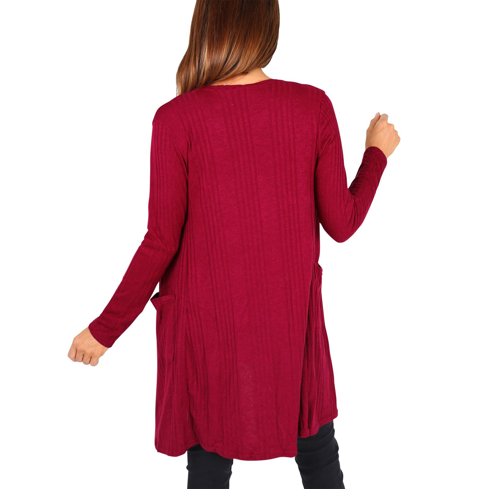 Femmes-Cardigan-Gilet-Long-Manches-Longues-Elegant-Mode-Basique-Casual-Jumper miniature 3