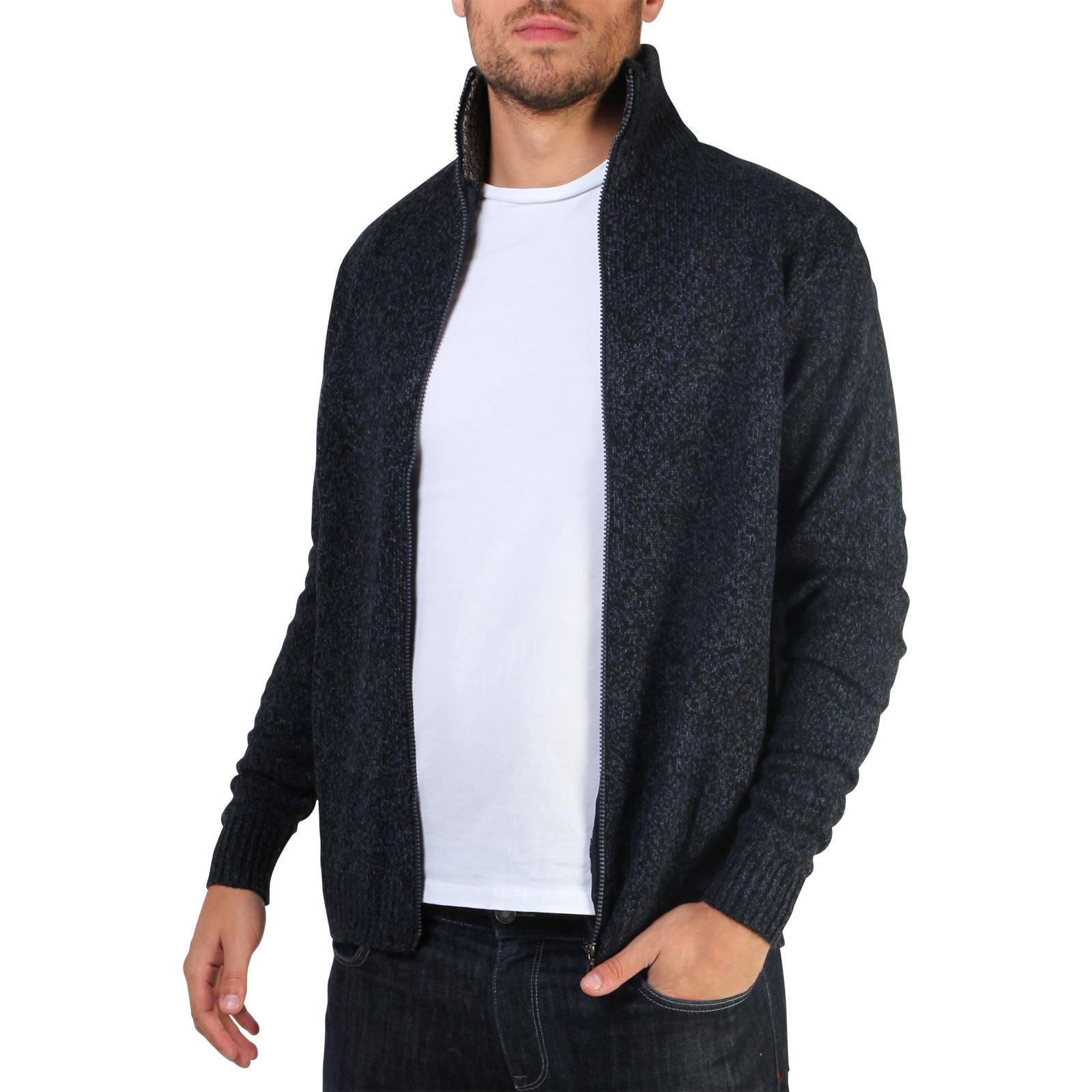 Mens-Wool-Jumper-Winter-Sweater-Zip-Up-Funnel-Neck-Soft-Knit-Cardigan-Top thumbnail 12