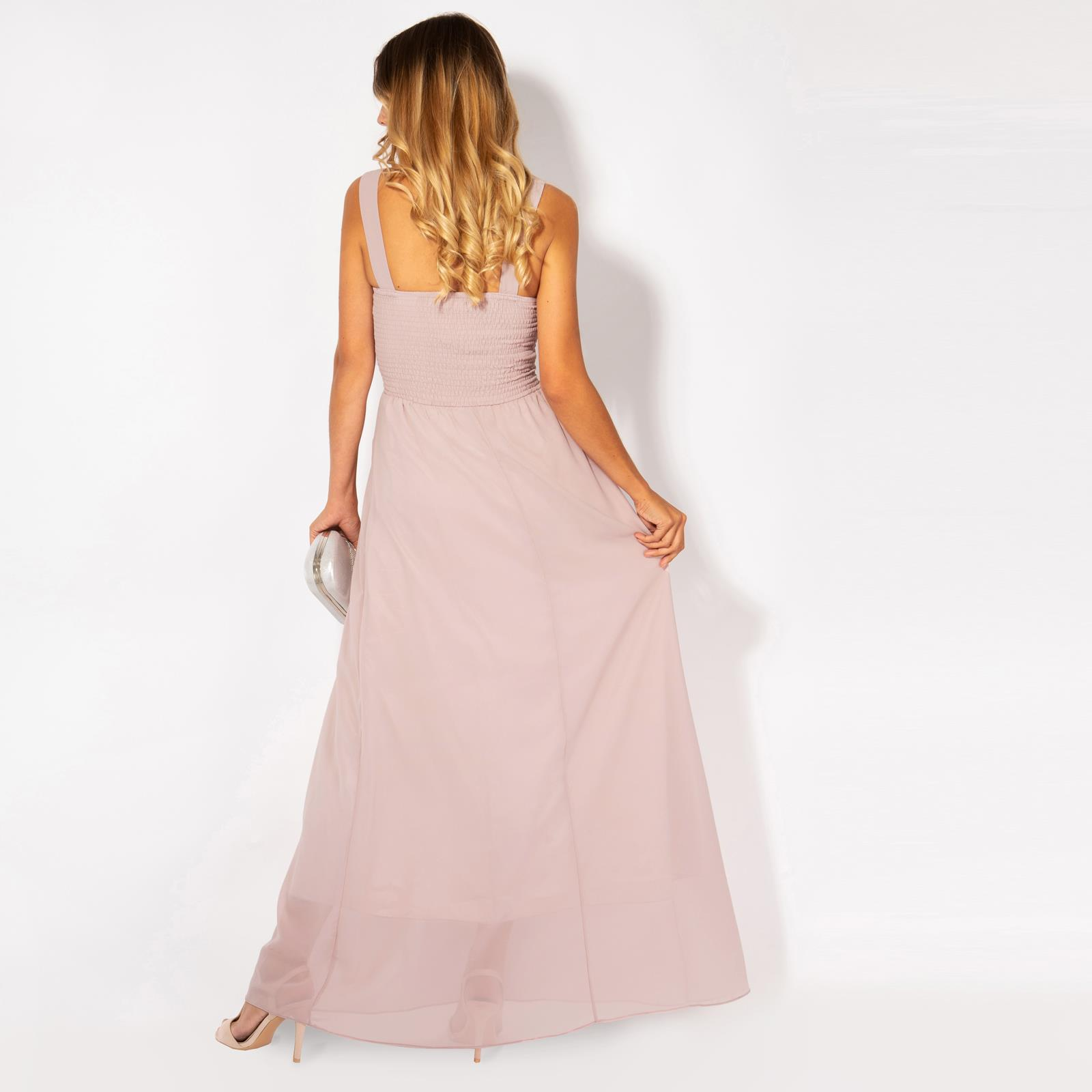 Womens-Long-Pleated-Maxi-Dress-Mesh-Neck-Ladies-Wedding-Evening-Party-Prom-Gown thumbnail 14