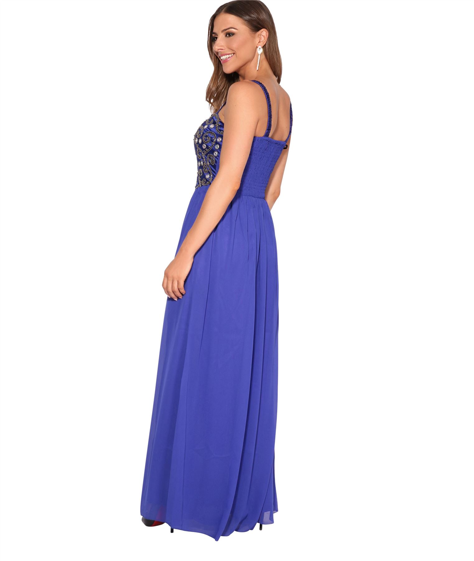 Women-Formal-Diamante-Wedding-Cocktail-Dress-Long-Ball-Gown-Prom-Maxi-Party-8-18 thumbnail 28