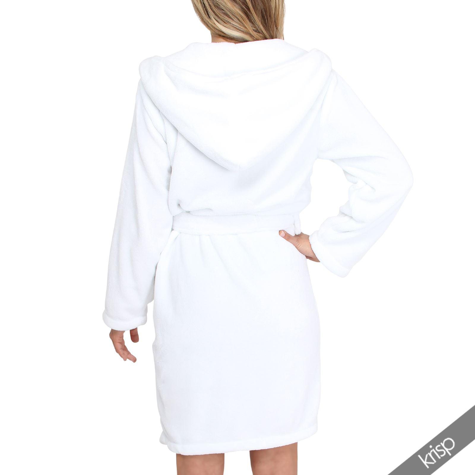 damen bademantel mit kapuze hausmantel morgenmantel fleece extra soft ebay. Black Bedroom Furniture Sets. Home Design Ideas