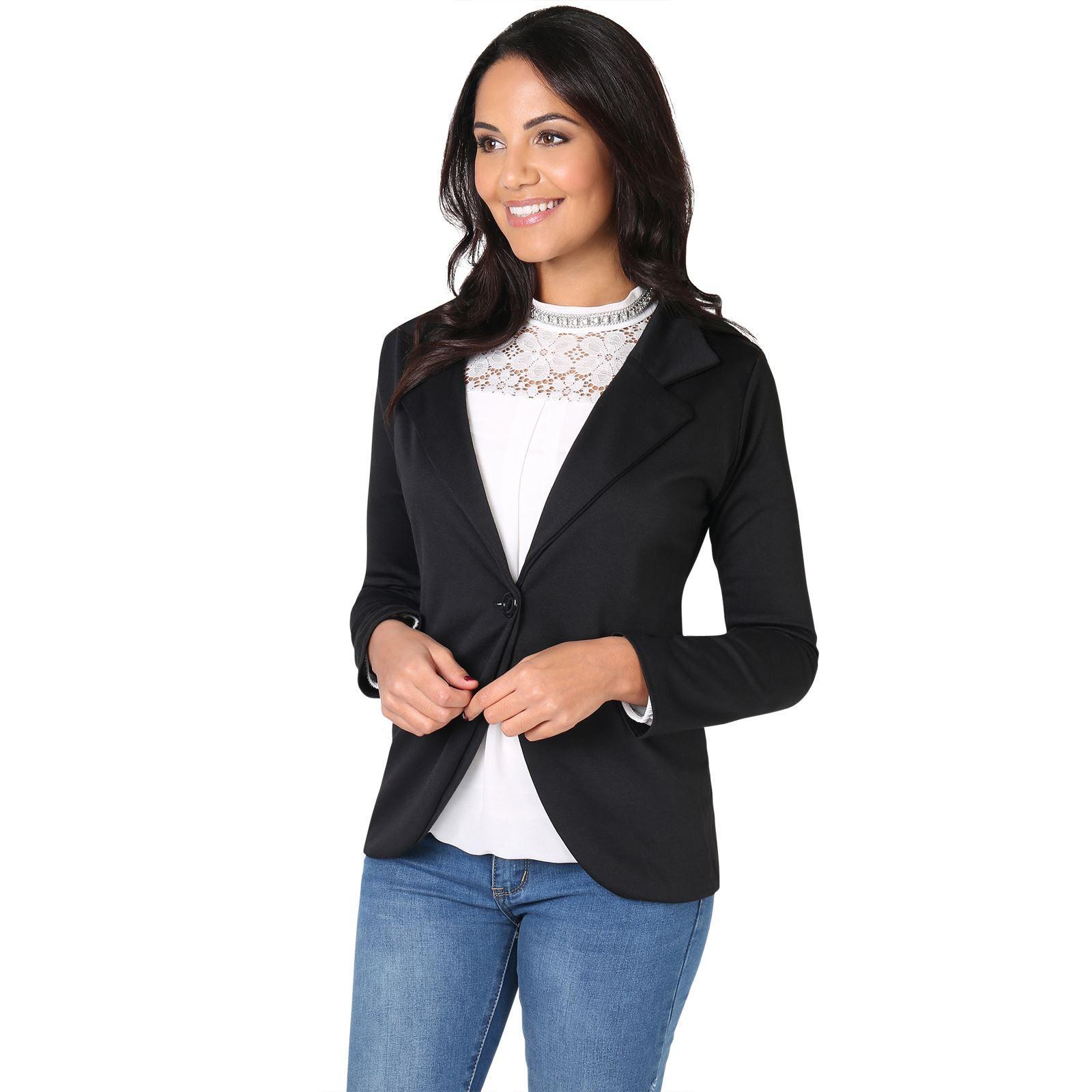 6619f181b942d Chaqueta Mujer Vestir Talla Grande Blazer Casual Elegante Barata ...