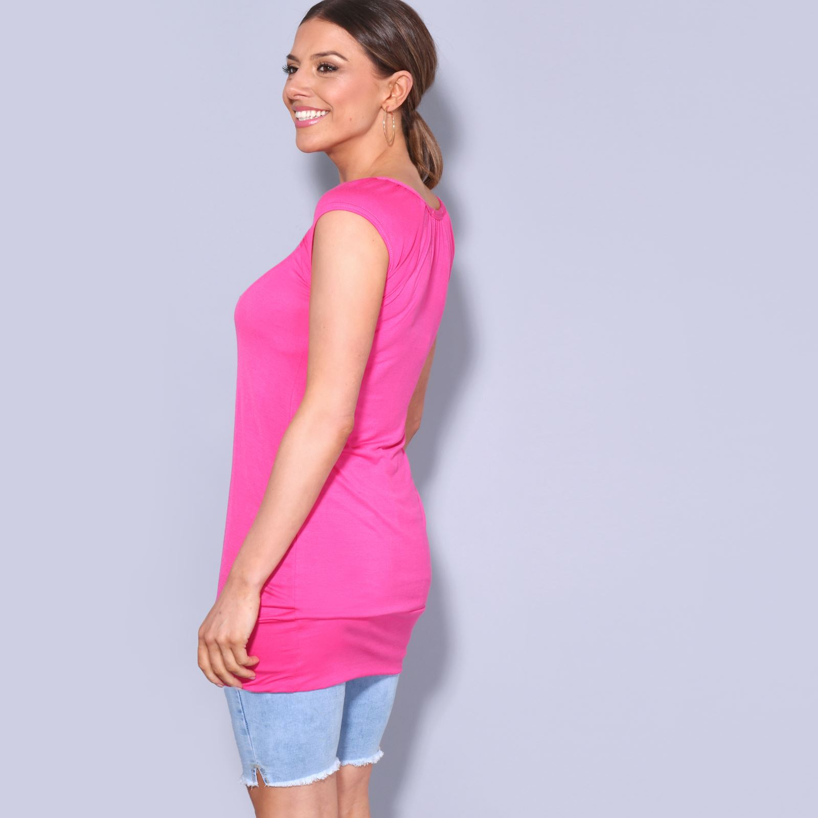 Womens-Ladies-Plain-T-Shirt-Short-Sleeve-Long-Loose-V-Neck-Blouse-Tunic-Top thumbnail 10
