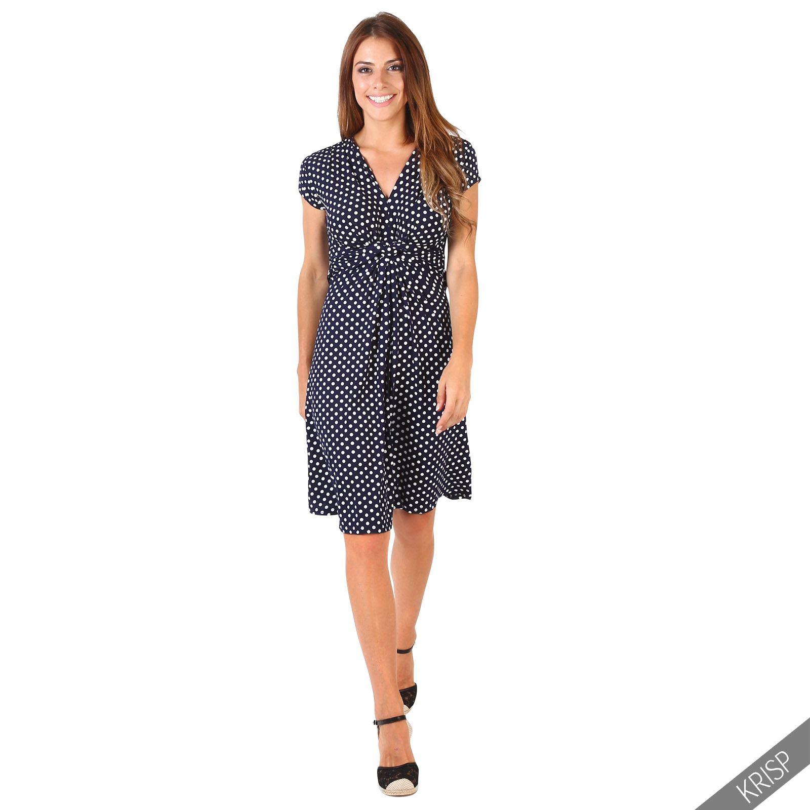 damen mini kleid mit punkten wickelkleid sommerkleid v ausschnitt geknotet kurz ebay. Black Bedroom Furniture Sets. Home Design Ideas