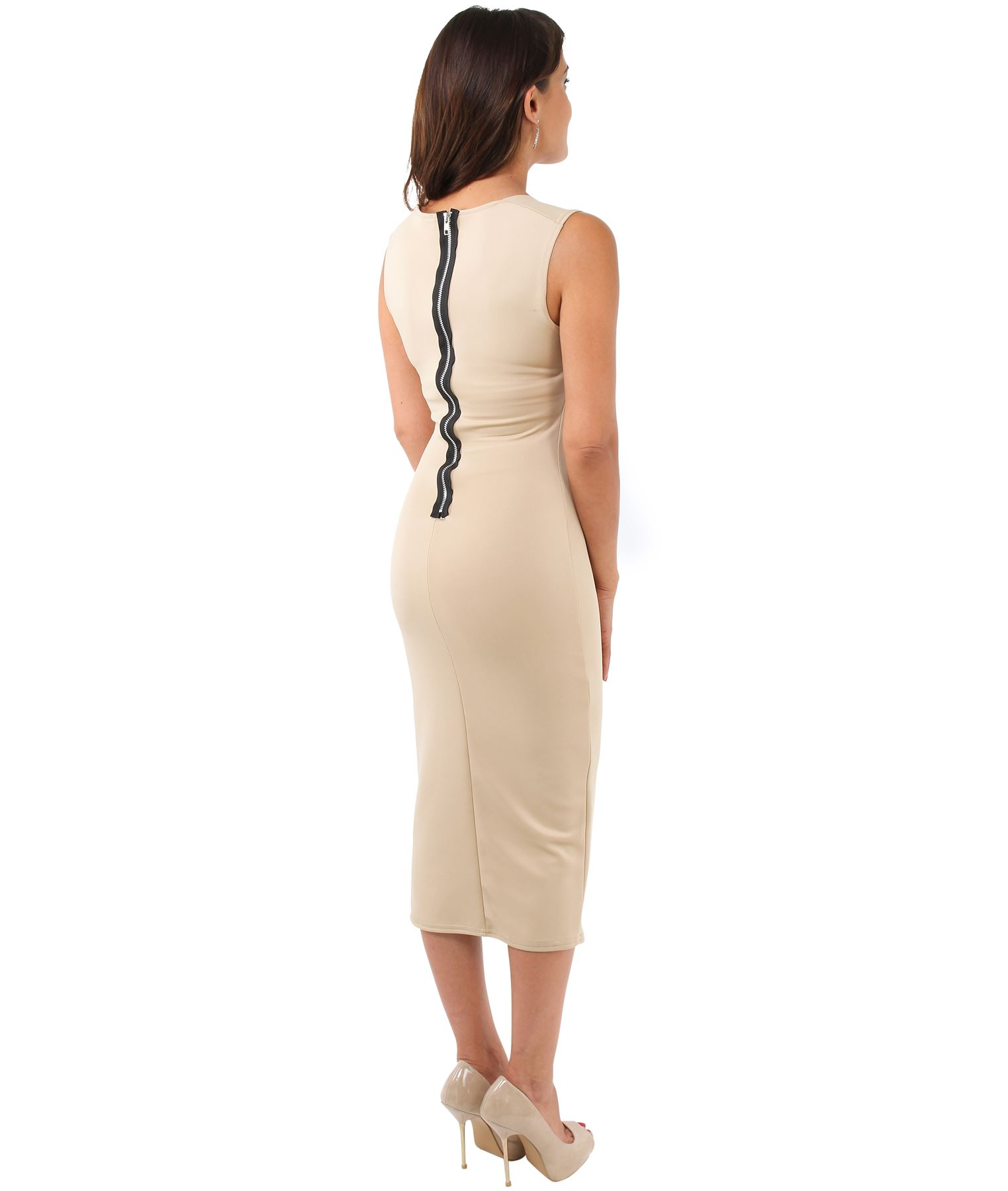 Womens-Pencil-Midi-Bodycon-Dress-Square-Neck-Panelled-Sexy-Zip-Party-Evening thumbnail 27