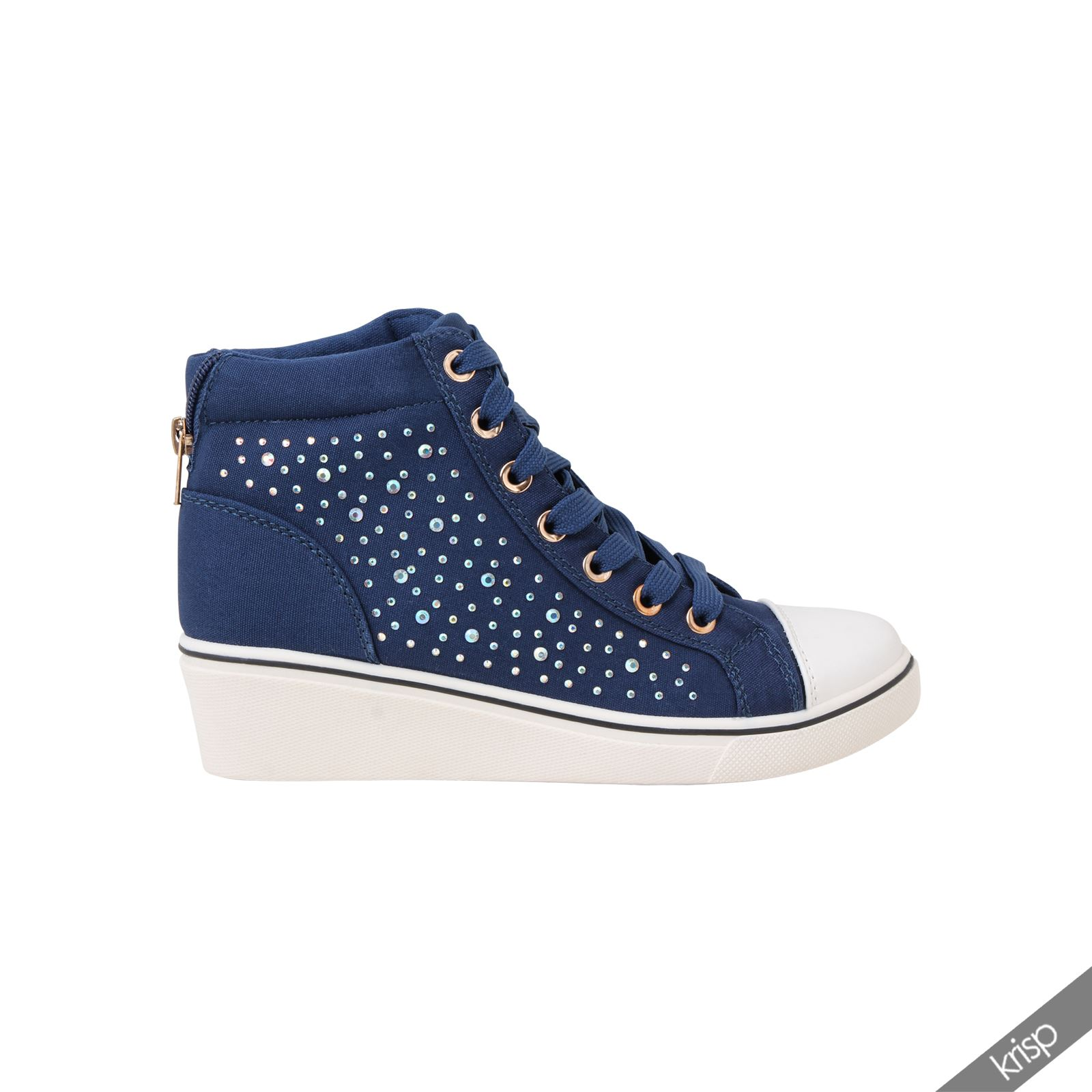 Reasonable Price Womens Sneakers High Top Shoes Fashion Trainers High Heel Wedge Lace Up Canvasx