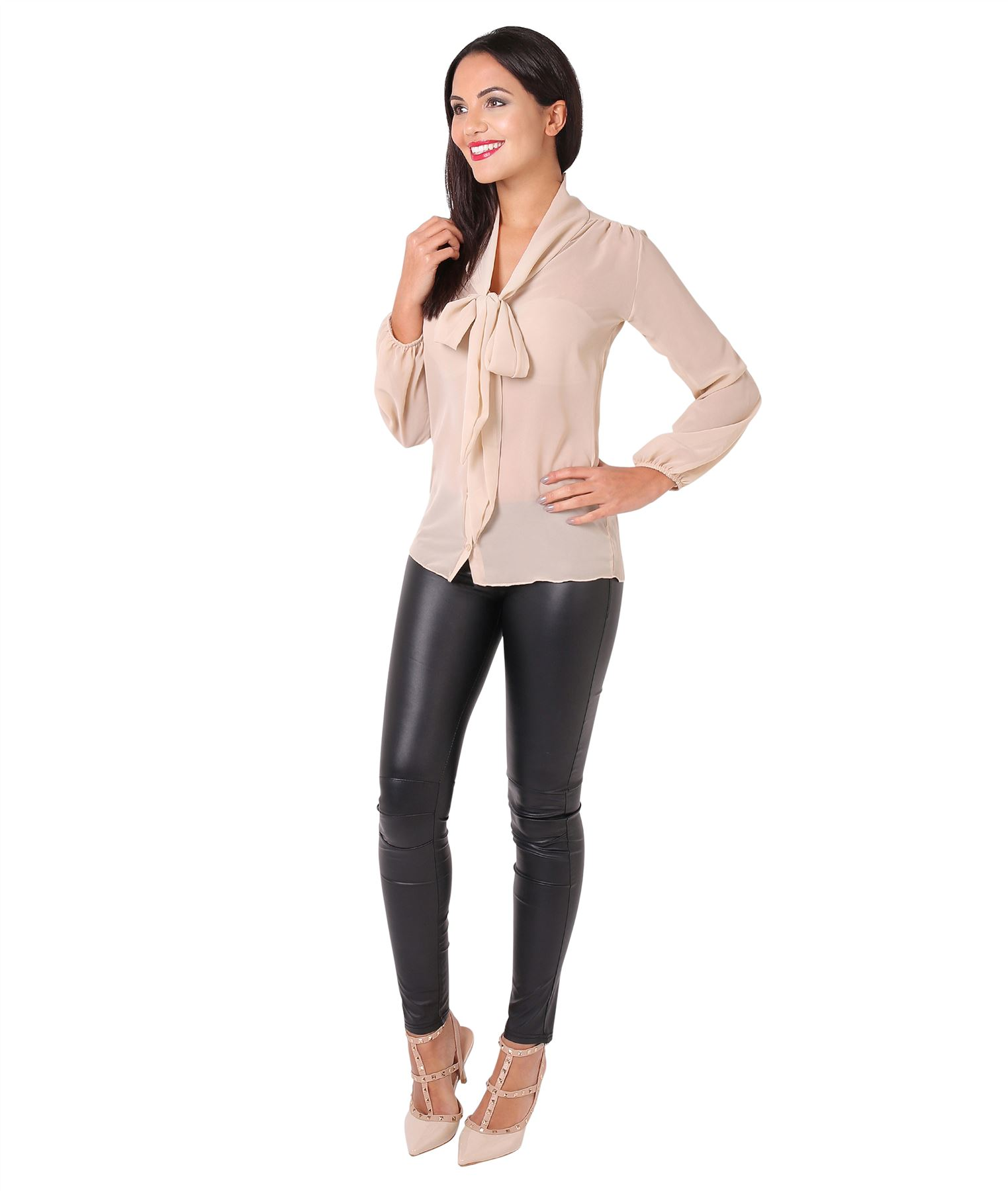 Womens-Ladies-Chiffon-Blouse-Long-Sleeve-Pussy-Bow-Top-Plain-Shirt-Office-Party thumbnail 20