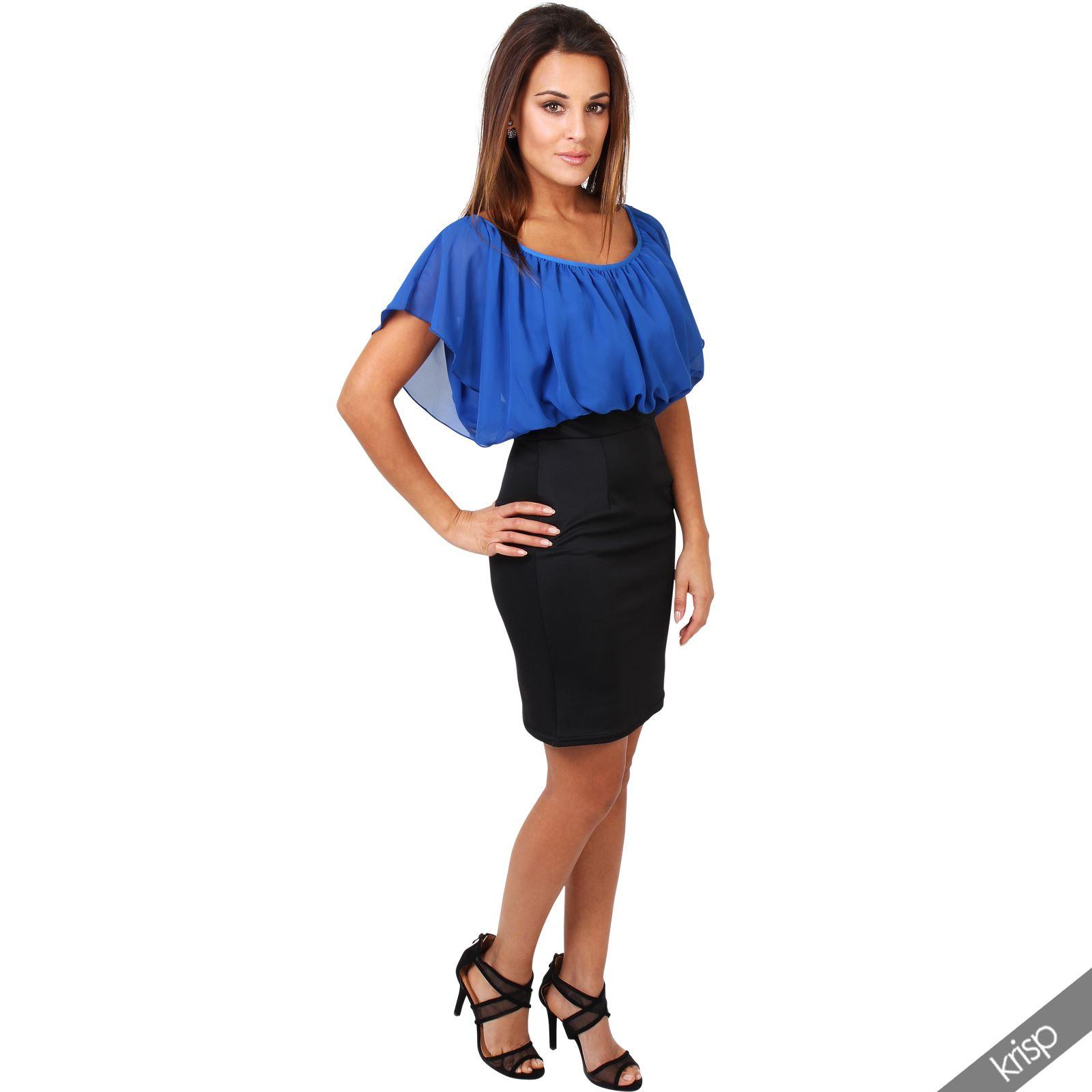 Womens-Pleated-Chiffon-Batwing-Top-High-Waist-Pencil-Bodycon-Skirt-Mini-Dress thumbnail 27