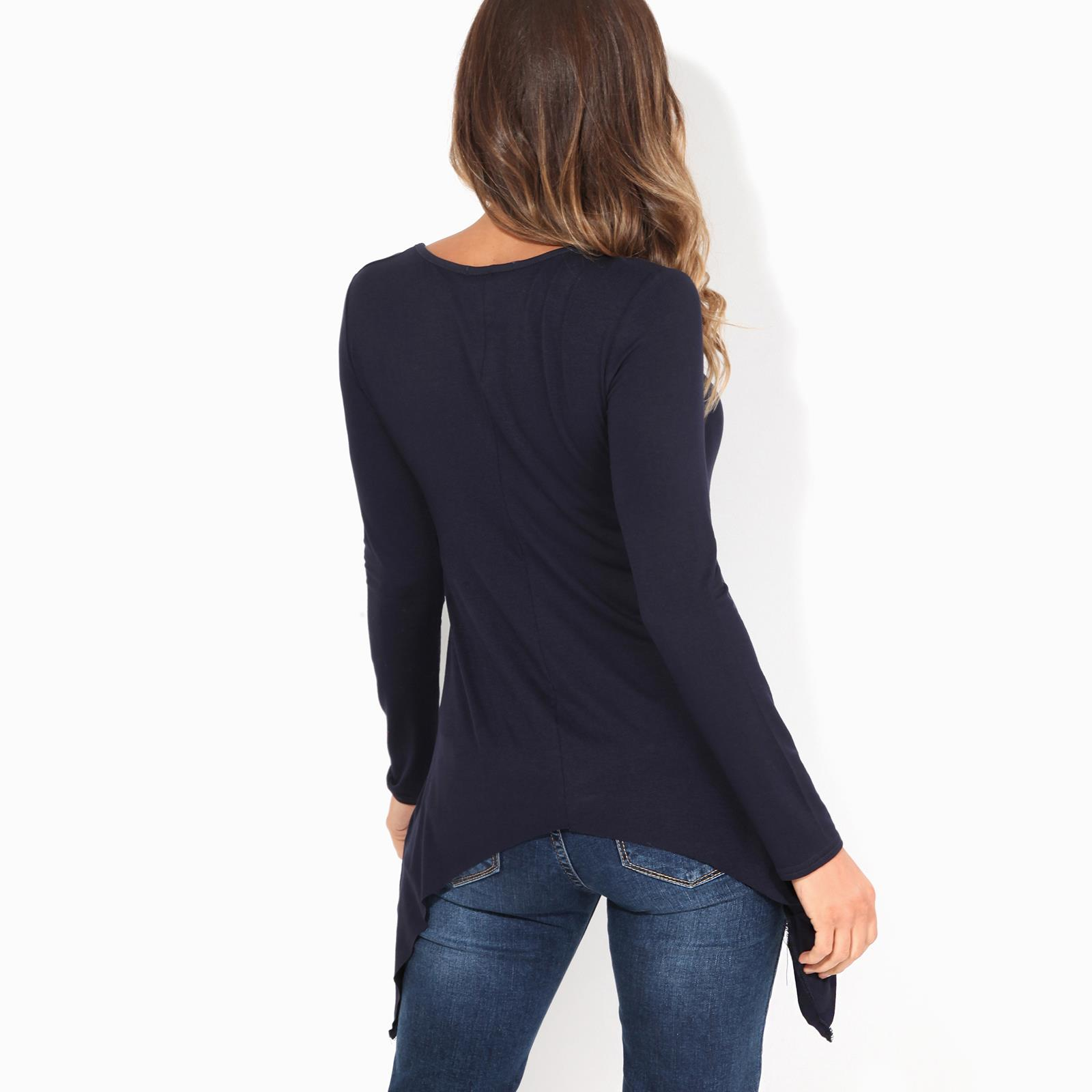 Womens-Ladies-Scoop-Neck-Blouse-Longline-T-Shirt-Flared-Top-Pleated-Long-Sleeve thumbnail 7