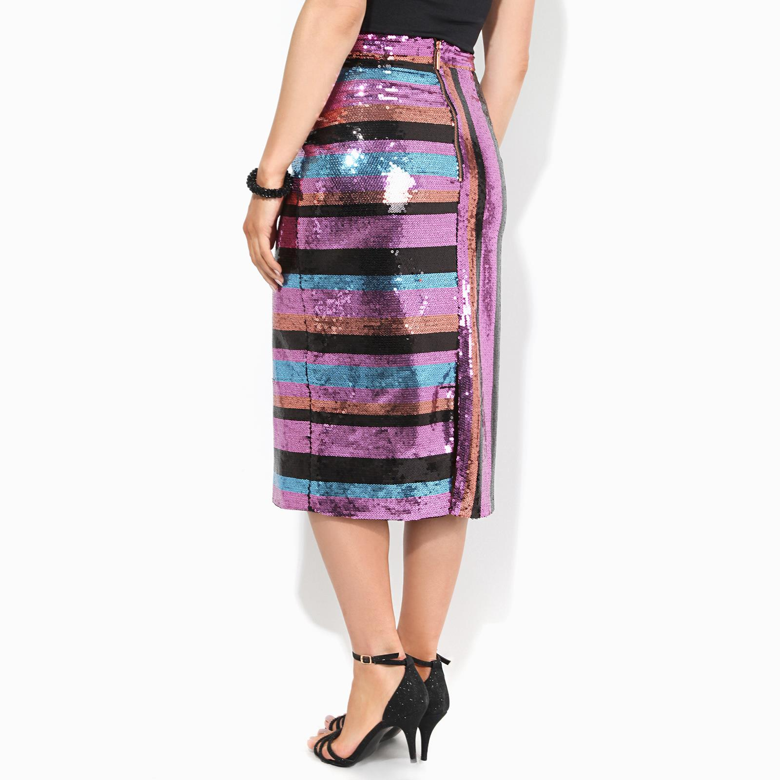 Womens-Ladies-Sequin-Pencil-Midi-Skirt-Striped-Pattern-Party-Evening thumbnail 3